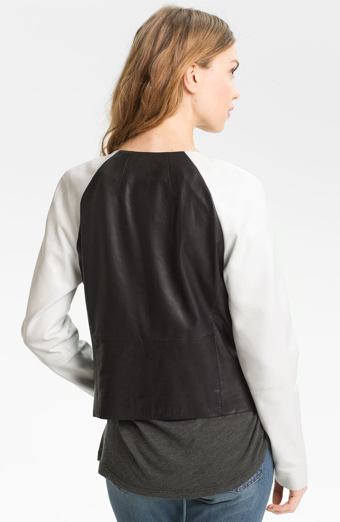 Alternate Image 2  - Trouvé Colorblock Raglan Sleeve Leather Jacket