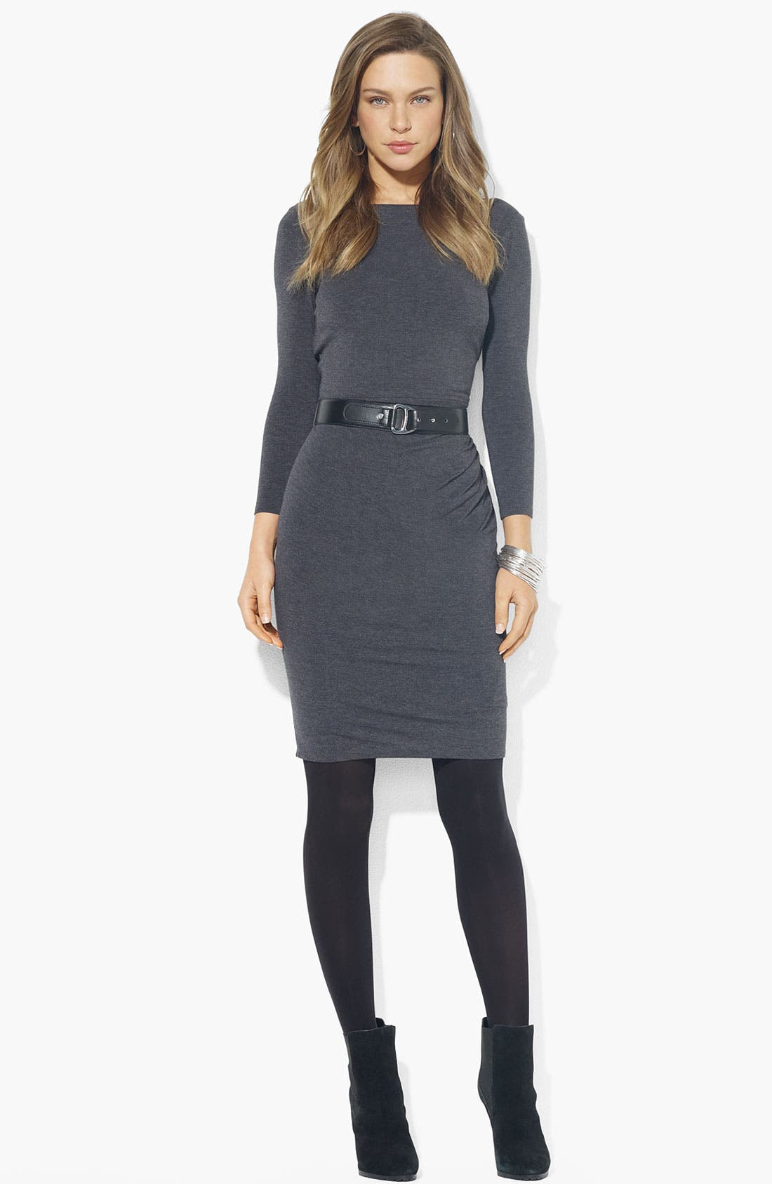 Main Image - Lauren Ralph Lauren Boatneck Belted Jersey Dress
