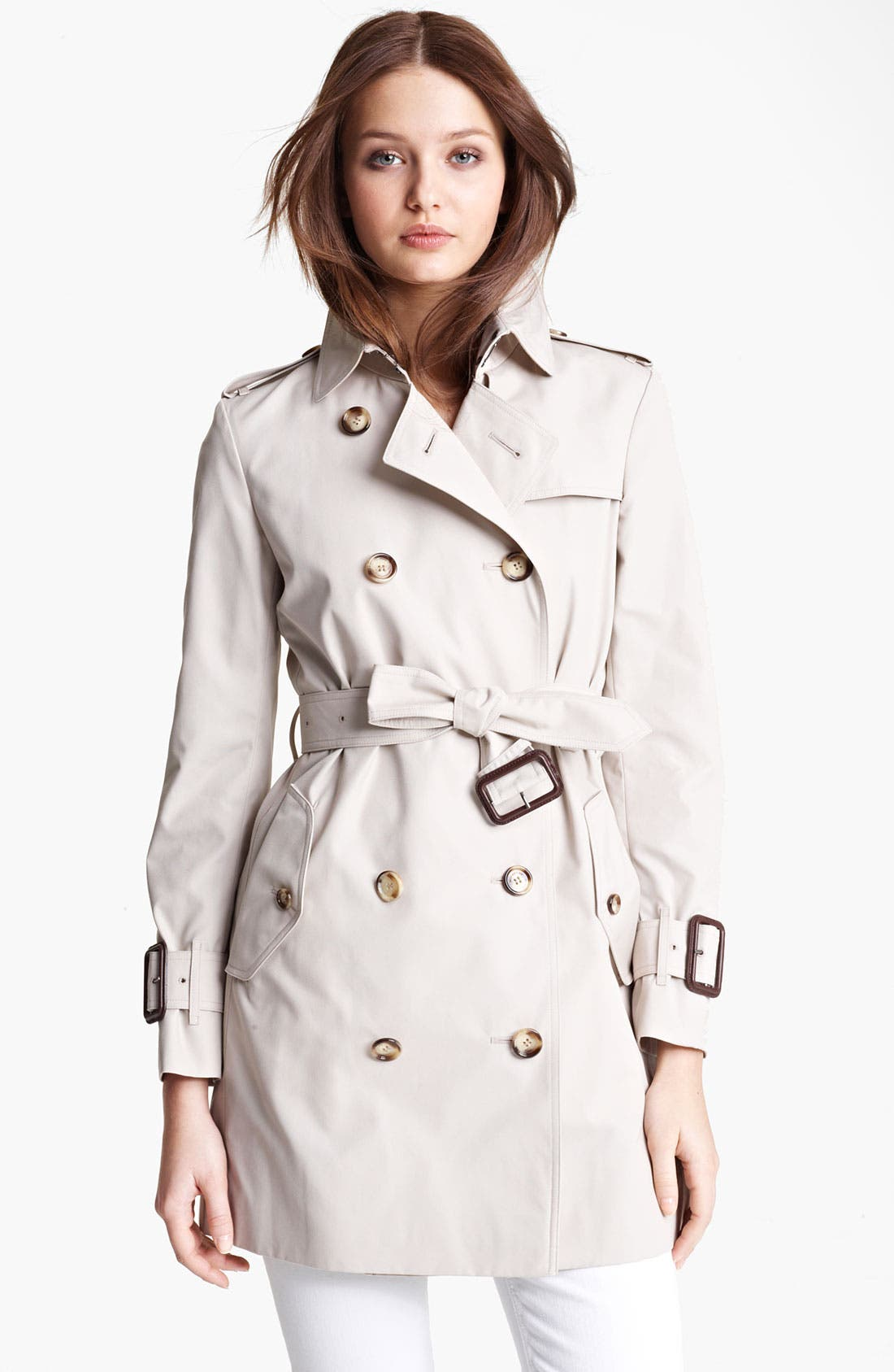 Alternate Image 1 Selected - Burberry Brit 'Marystow' Double Breasted Poplin Short Trench Coat