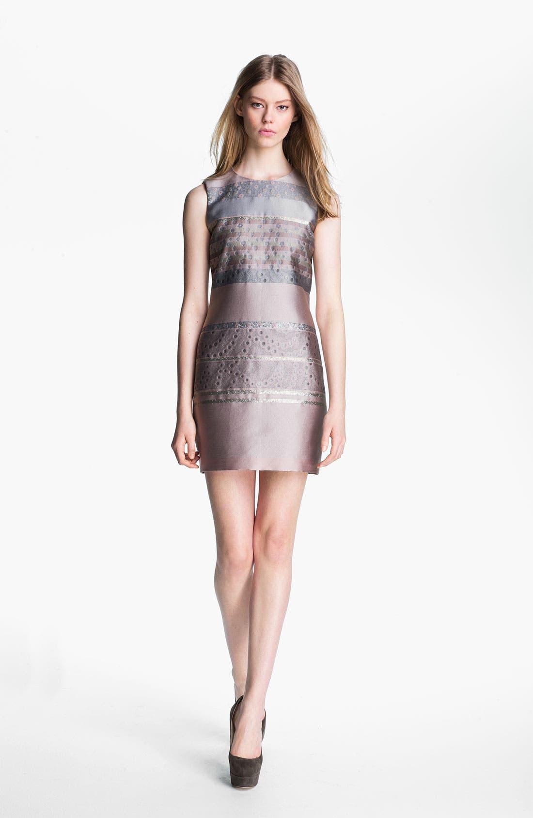 Alternate Image 1 Selected - Victoria, Victoria Beckham Stripe Jacquard Shift Dress