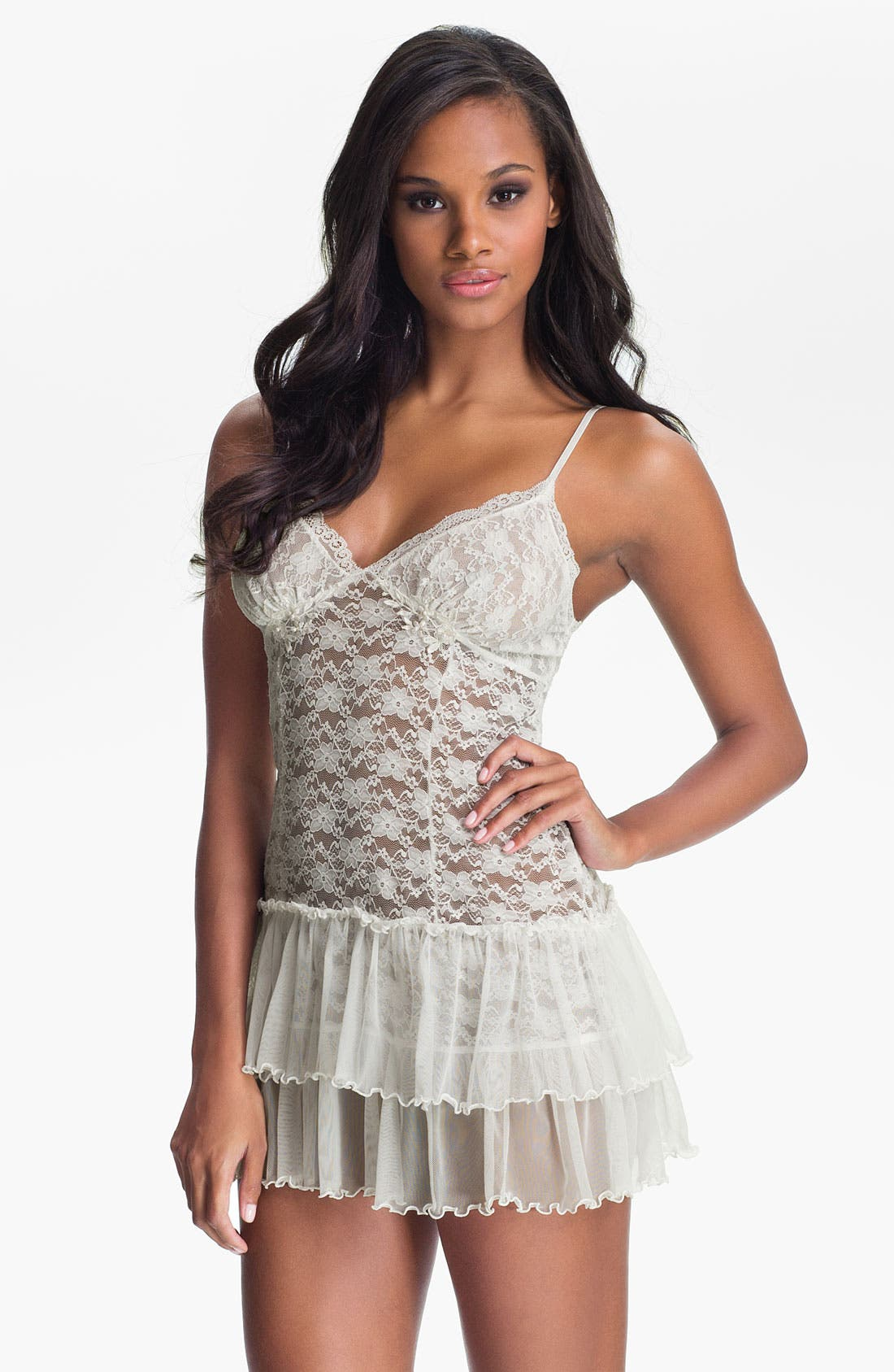 Main Image - In Bloom by Jonquil 'Pearls & Lace' Babydoll