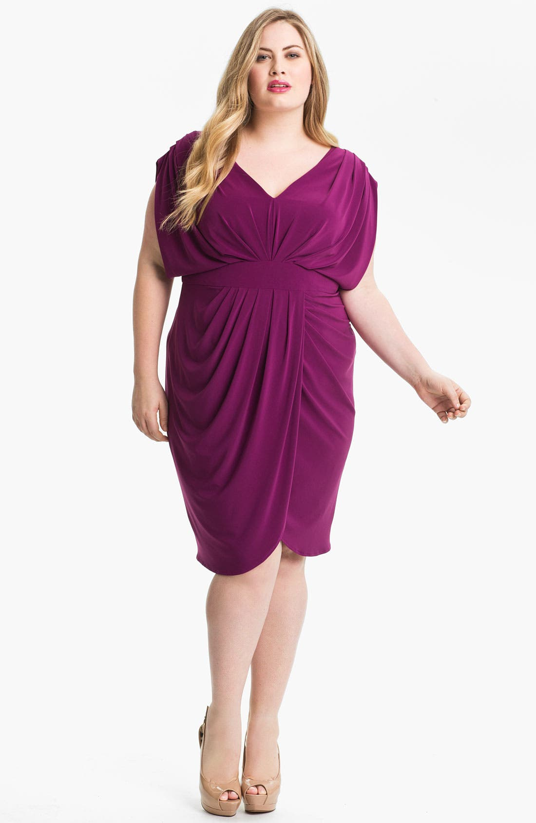 Main Image - Suzi Chin for Maggy Boutique V-Neck Faux Wrap Jersey Dress (Plus Size)