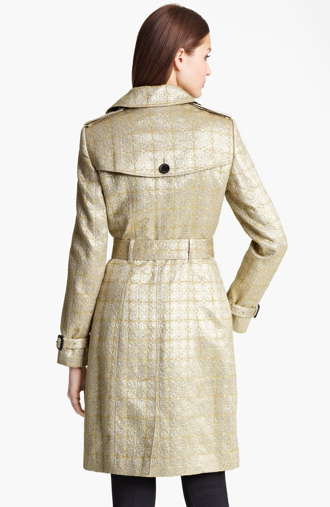 Alternate Image 3  - Burberry London Belted Metallic Jacquard Trench Coat