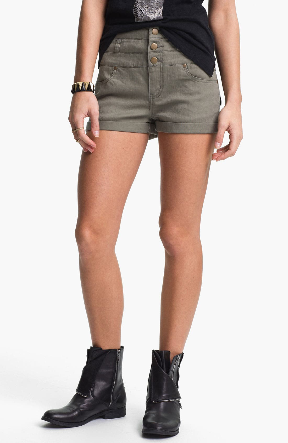 Main Image - Fire High Waist Utility Shorts (Juniors)