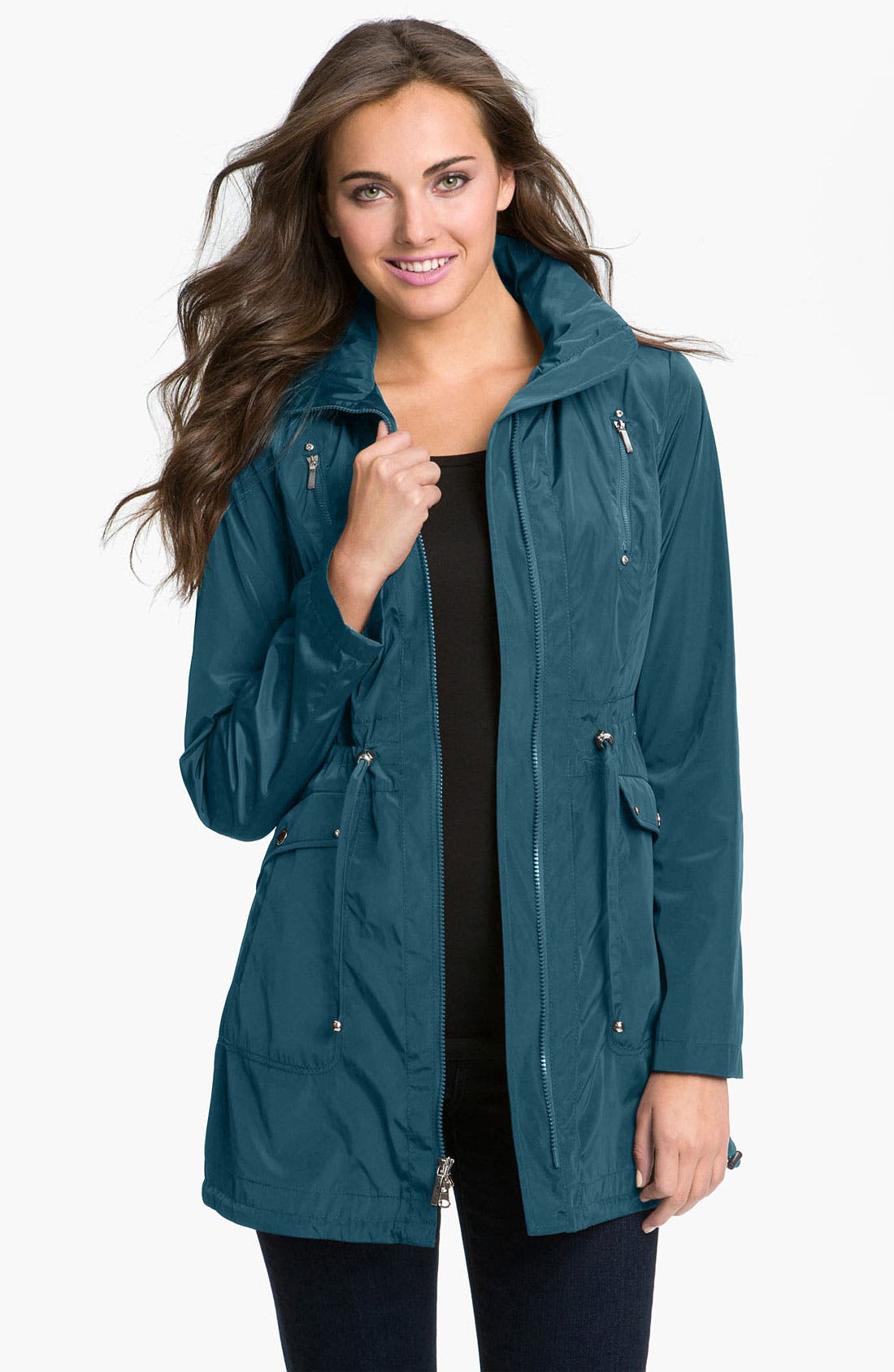 Packable Hooded Anorak,                         Main,                         color, Marine Blue