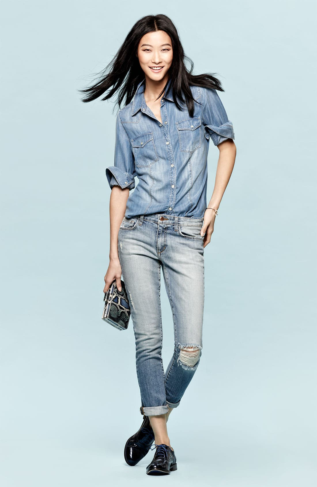Alternate Image 6  - Trouvé Flap Pocket Denim Shirt