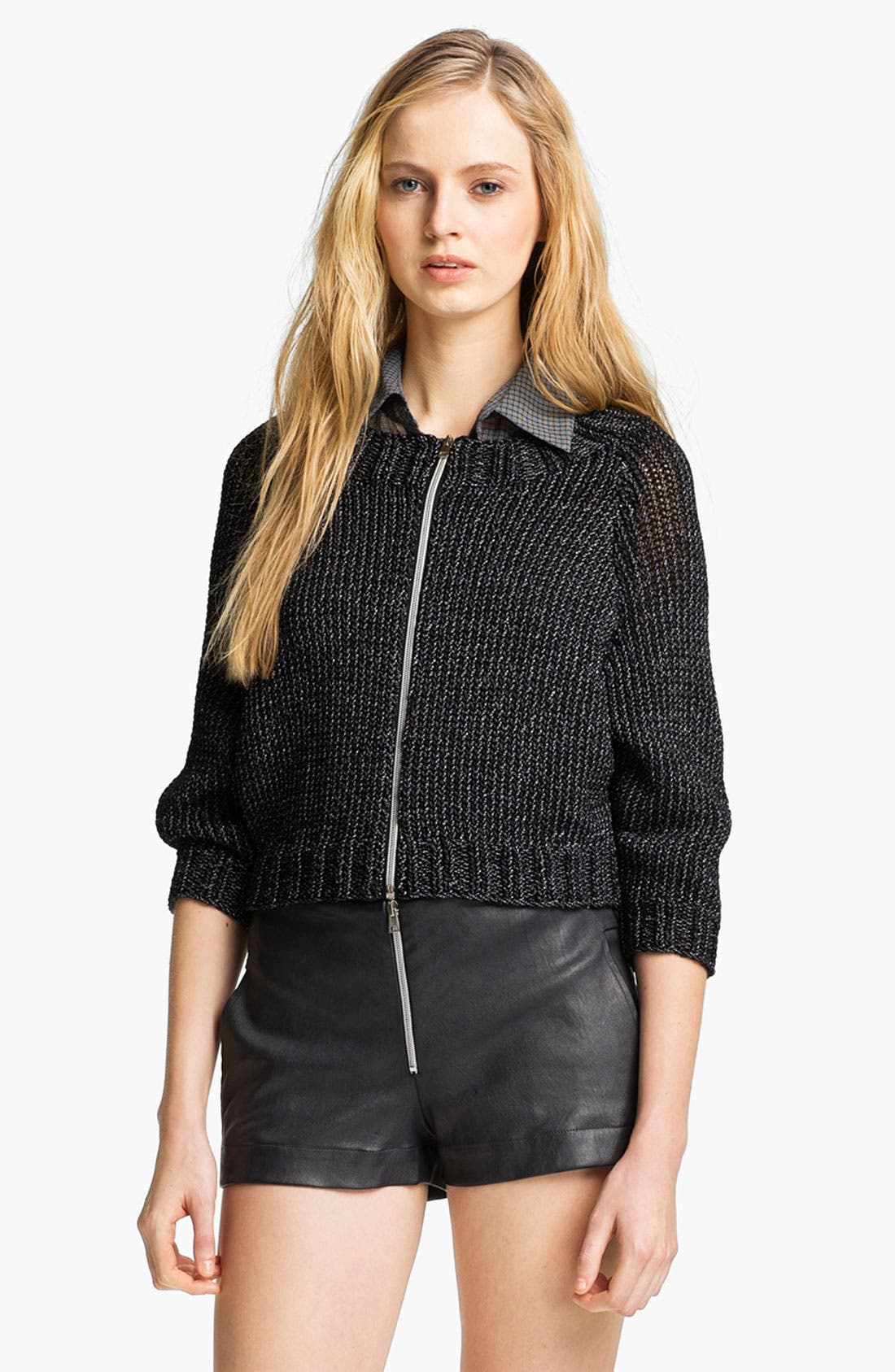 Alternate Image 2  - L'AGENCE Zip Front Crop Sweater