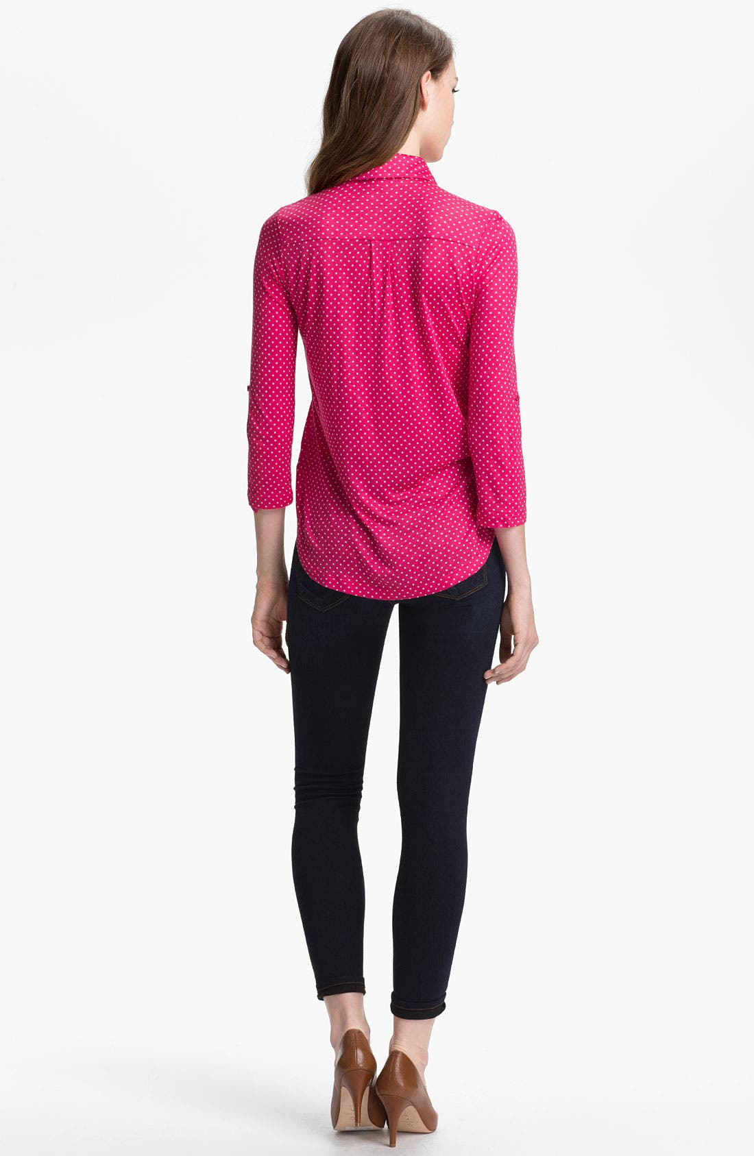 Alternate Image 5  - Pleione Half Placket Mini Dot Top (Petite)