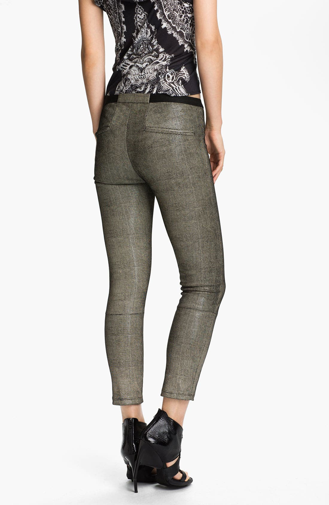Alternate Image 2  - Helmut Lang 'Rift' Stretch Leather Crop Leggings