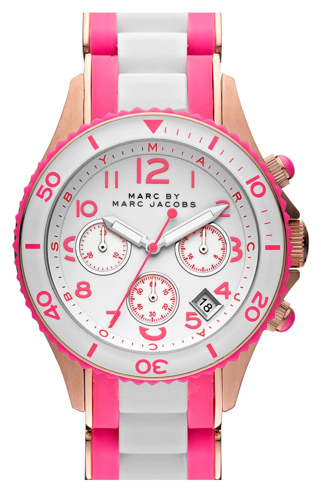 Main Image - MARC BY MARC JACOBS 'Rock' Chronograph Silicone Bracelet Watch