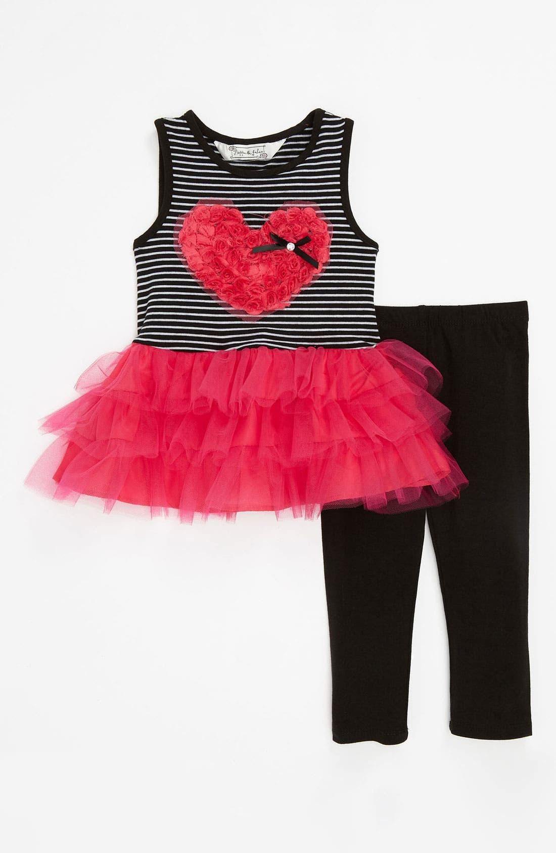 Main Image - Pippa & Julie Soutache Heart Top & Leggings (Toddler)
