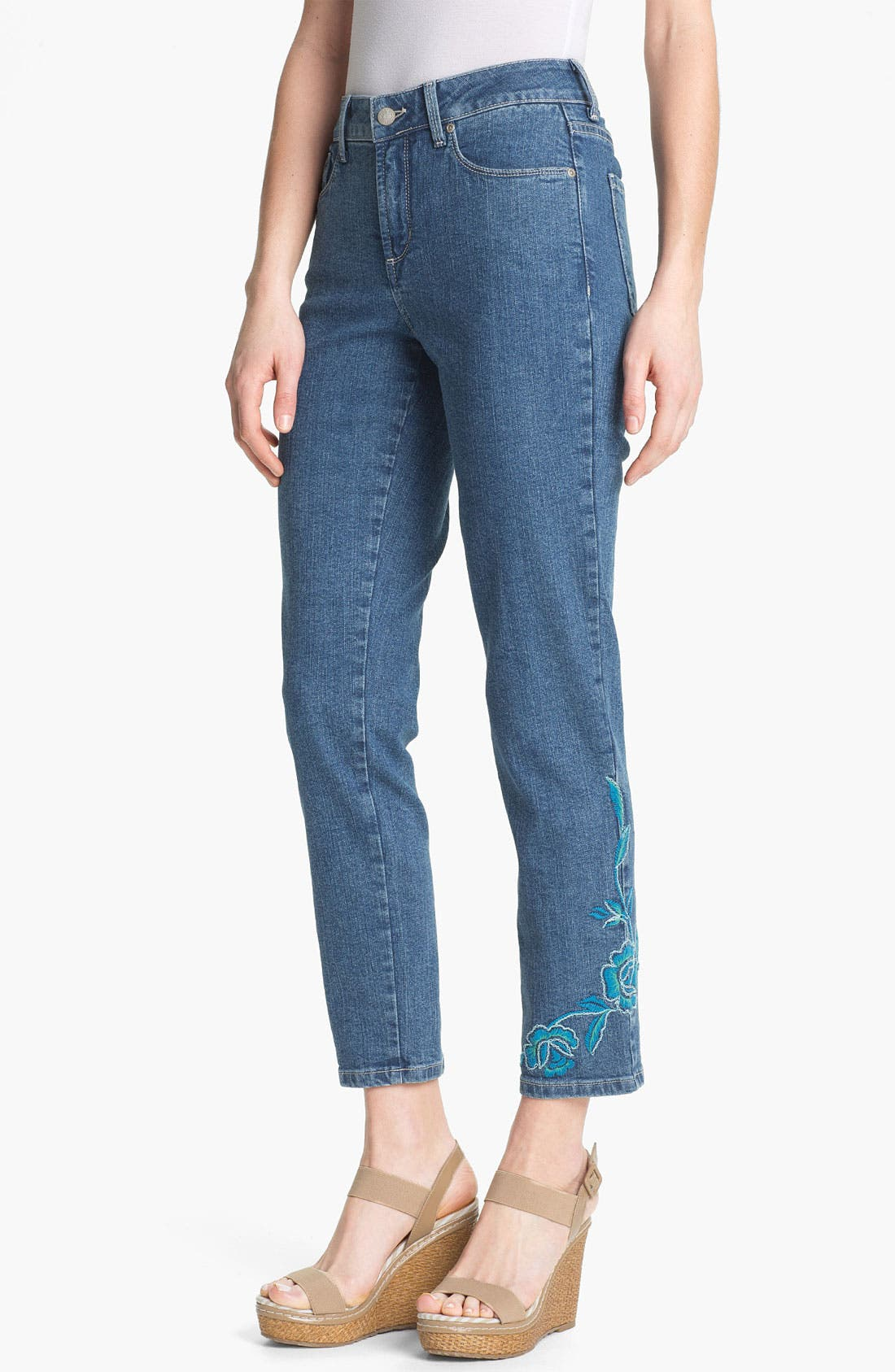 Main Image - NYDJ 'Alisha' Embroidered Skinny Stretch Ankle Jeans