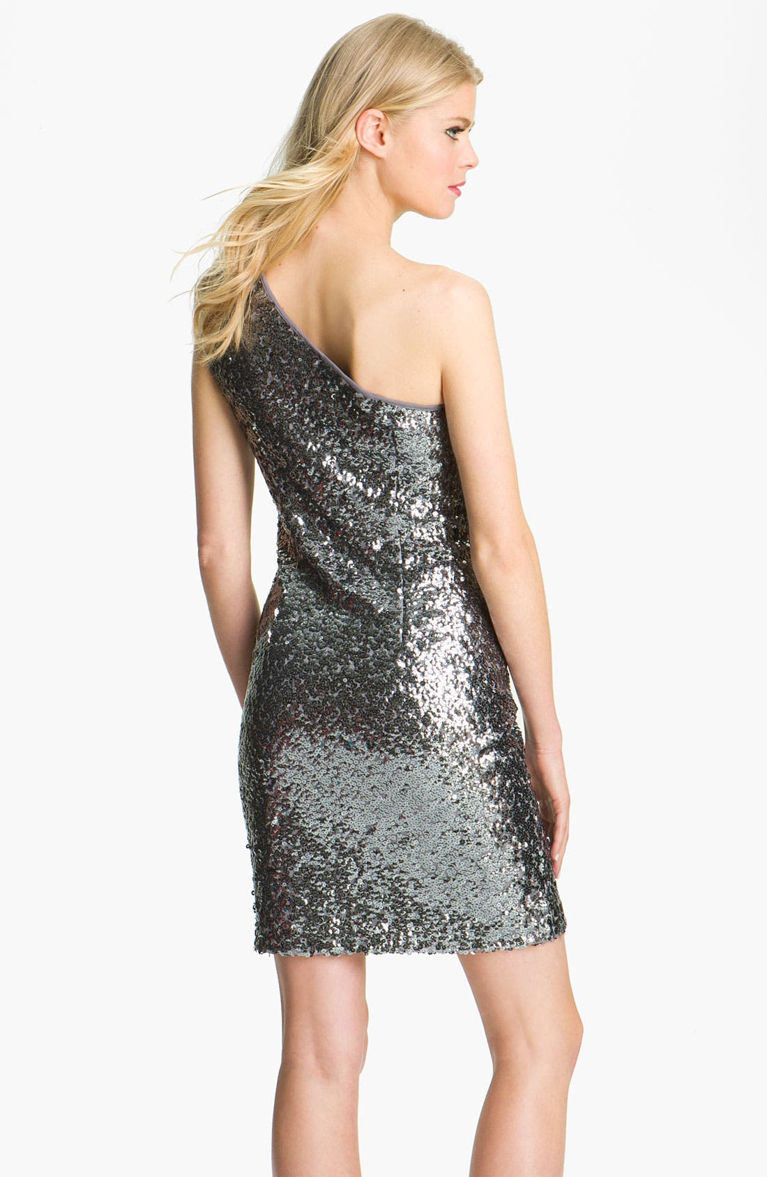 Alternate Image 2  - Adrianna Papell One Shoulder Sequin Dress (Petite)