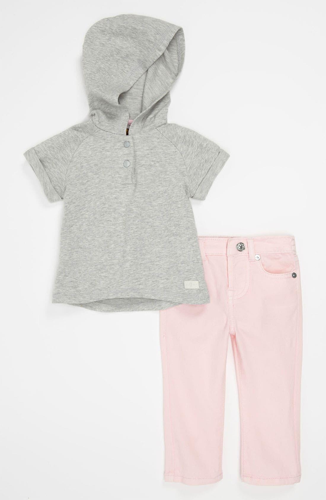 Hoodie & Jeans,                         Main,                         color, Grey/ Pink