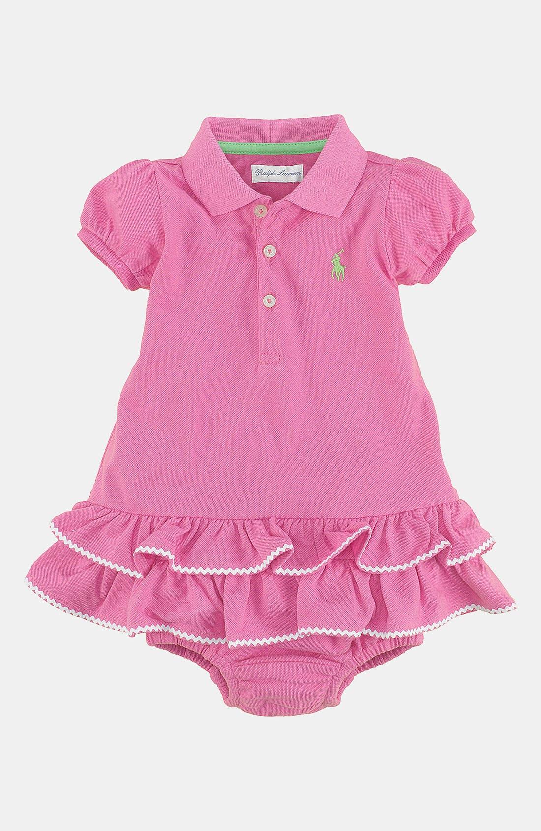 Alternate Image 1 Selected - Ralph Lauren Rickrack Polo Dress & Bloomers (Baby)