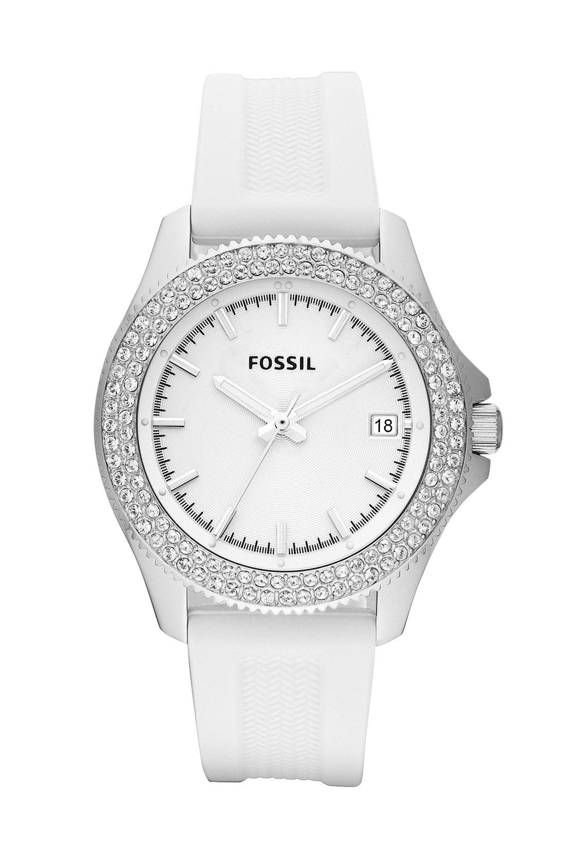 Alternate Image 1 Selected - Fossil 'Retro Traveler' Crystal Bezel Watch, 36mm