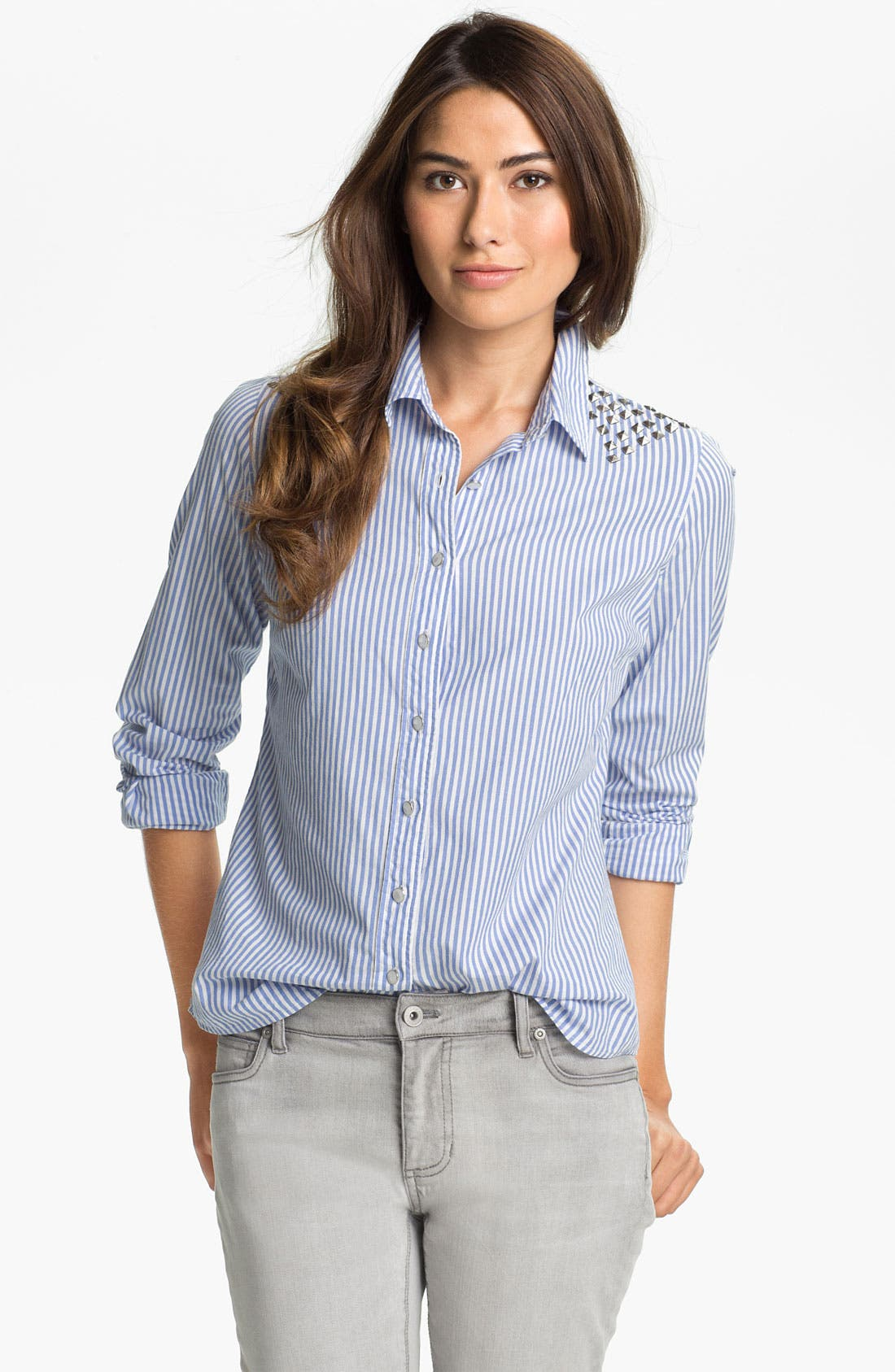 Main Image - Two by Vince Camuto Studded Stripe Shirt