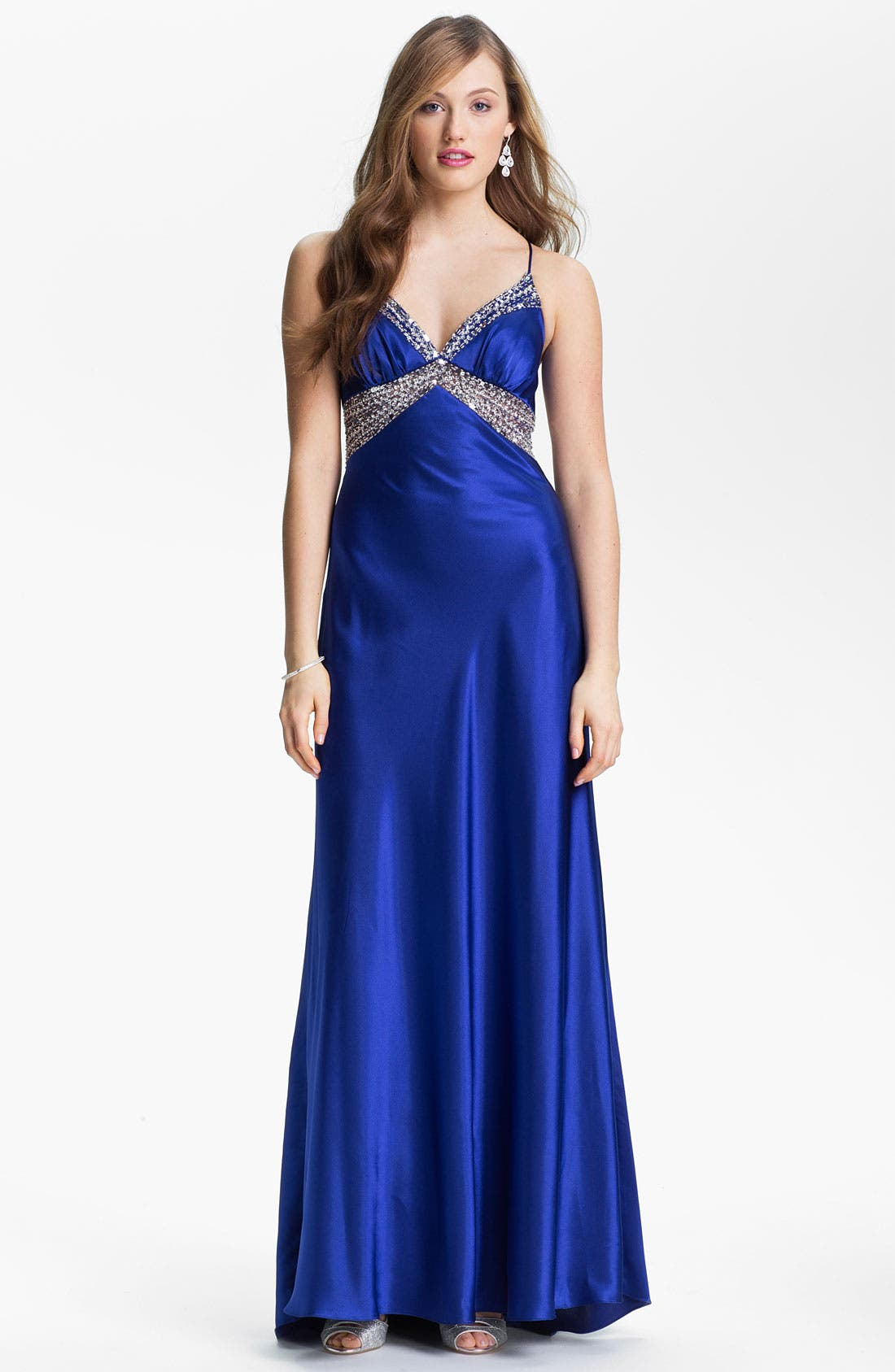 Main Image - Sean Collection Embellished Charmeuse Gown (Online Exclusive)