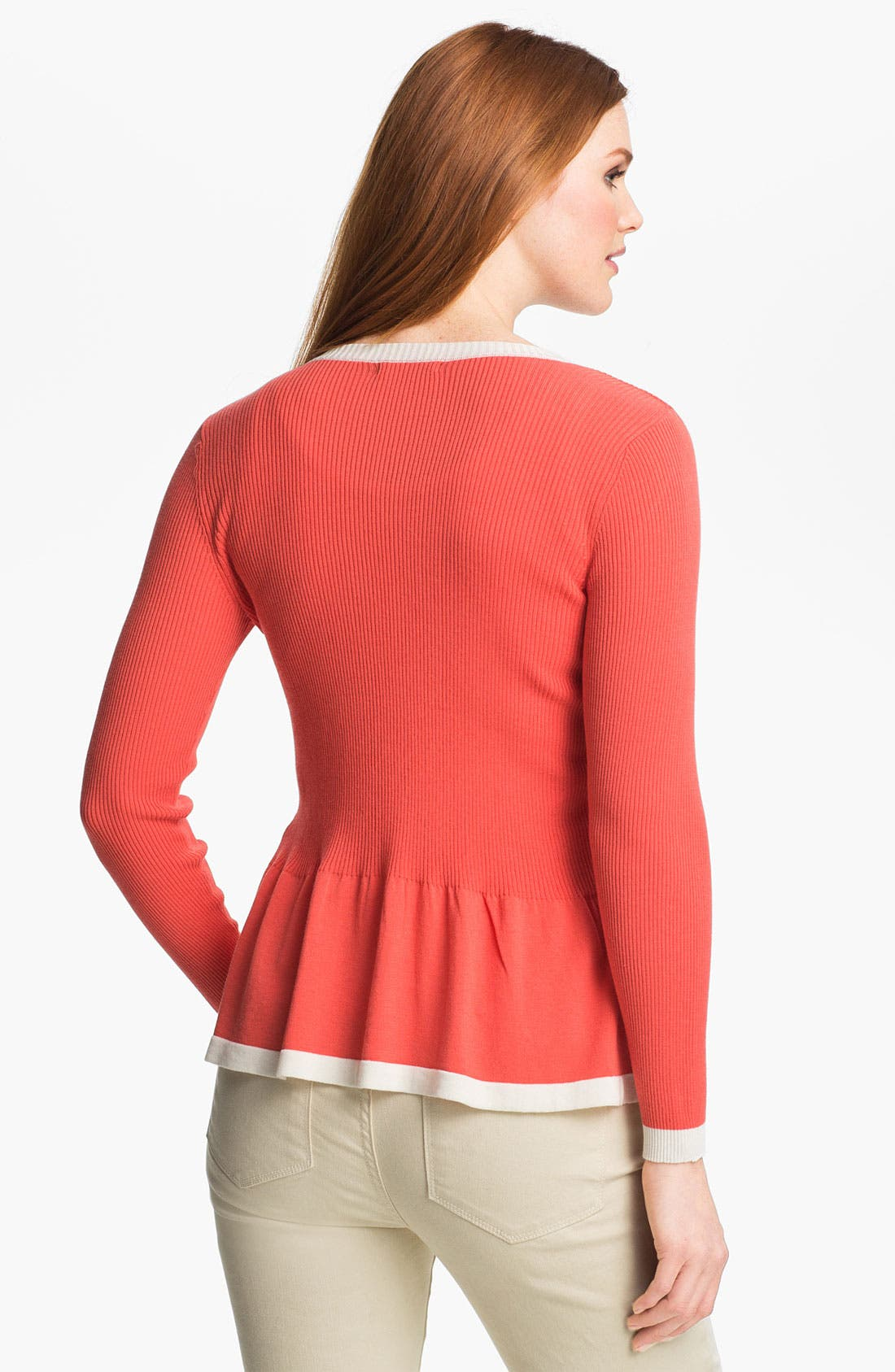 Alternate Image 2  - Nic + Zoe Two Tone Peplum Sweater Jacket