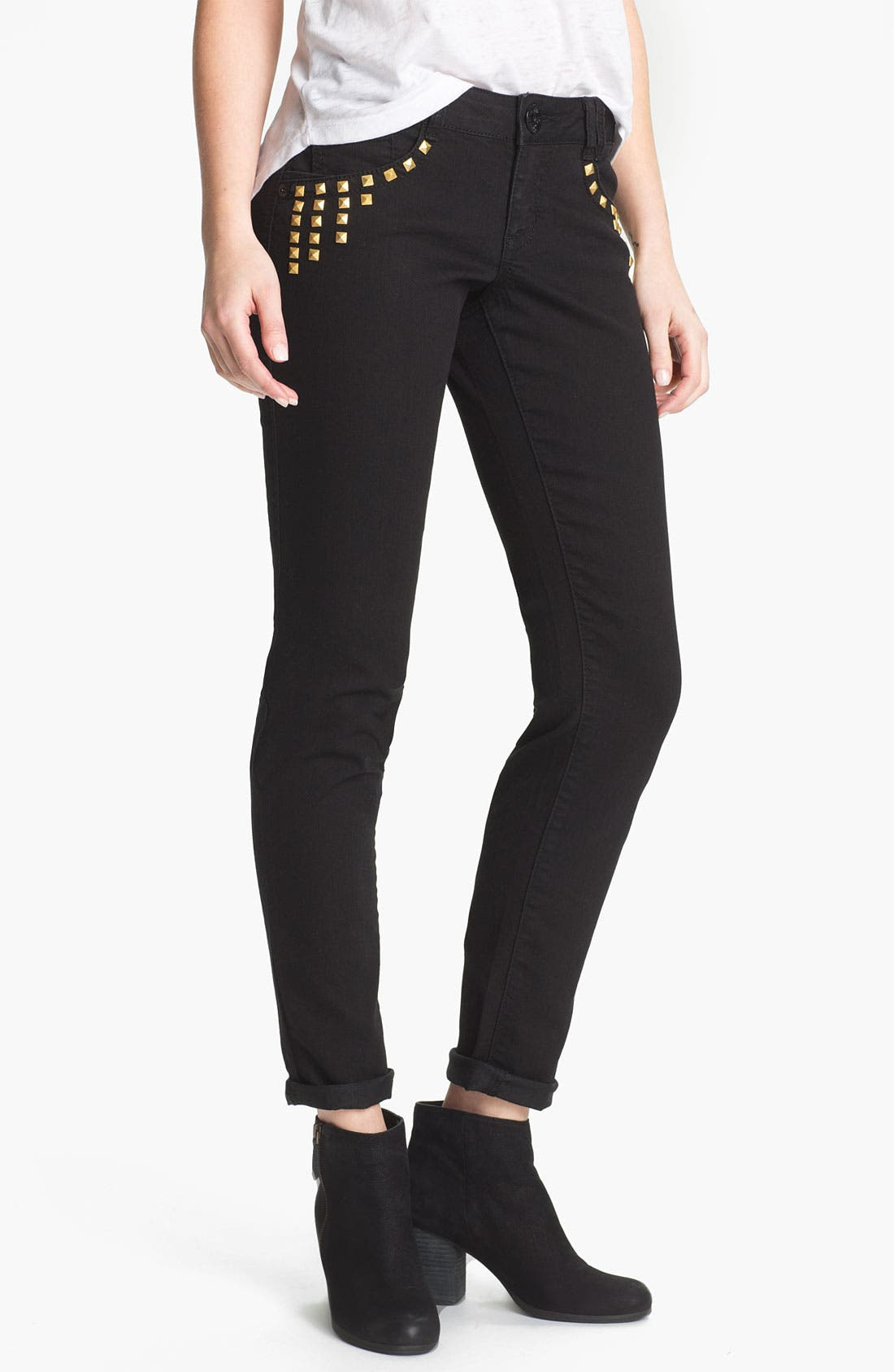 Alternate Image 1 Selected - Jolt Studded Skinny Jeans (Juniors)