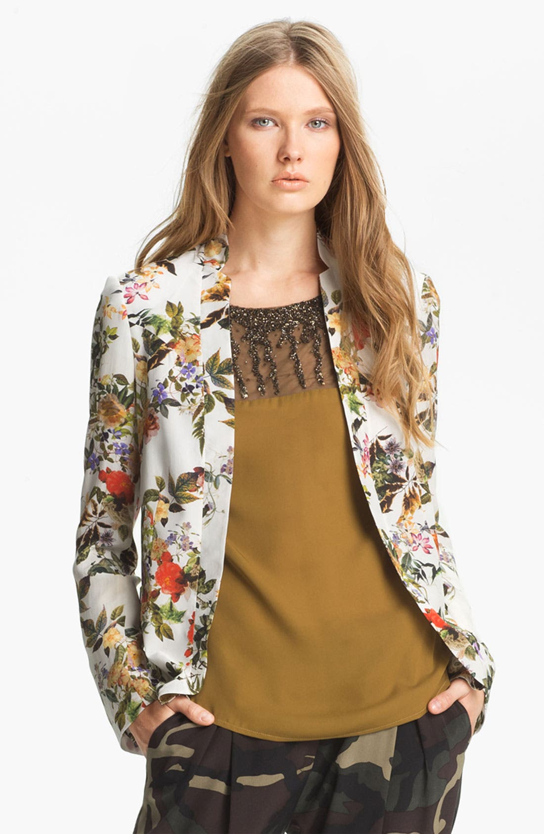 Alternate Image 1 Selected - Haute Hippie Floral Print Silk Blazer