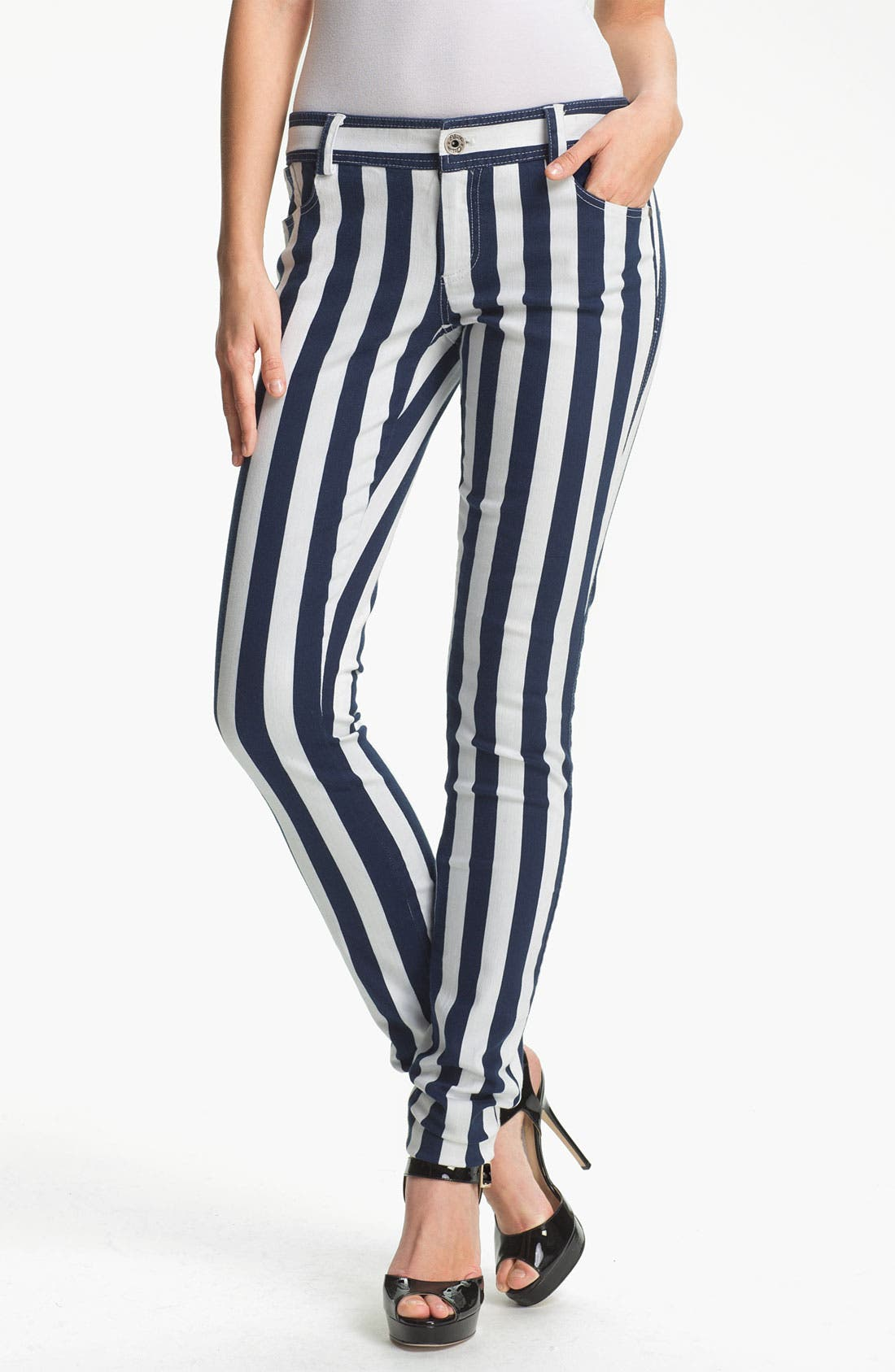 Alternate Image 1 Selected - Alice + Olivia Stripe Skinny Jeans
