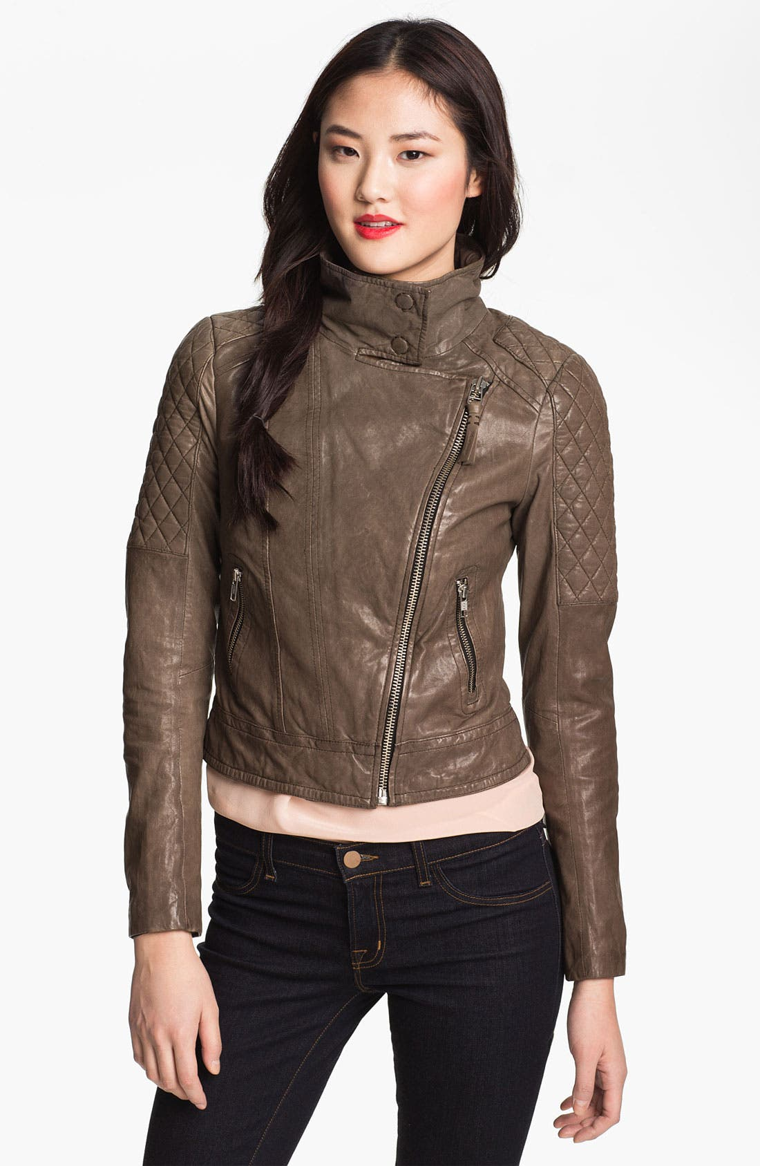 Alternate Image 2  - Mackage Quilt Trim Leather Moto Jacket