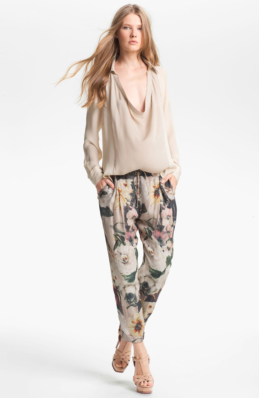 Alternate Image 2  - Haute Hippie Floral Print Drawstring Trousers