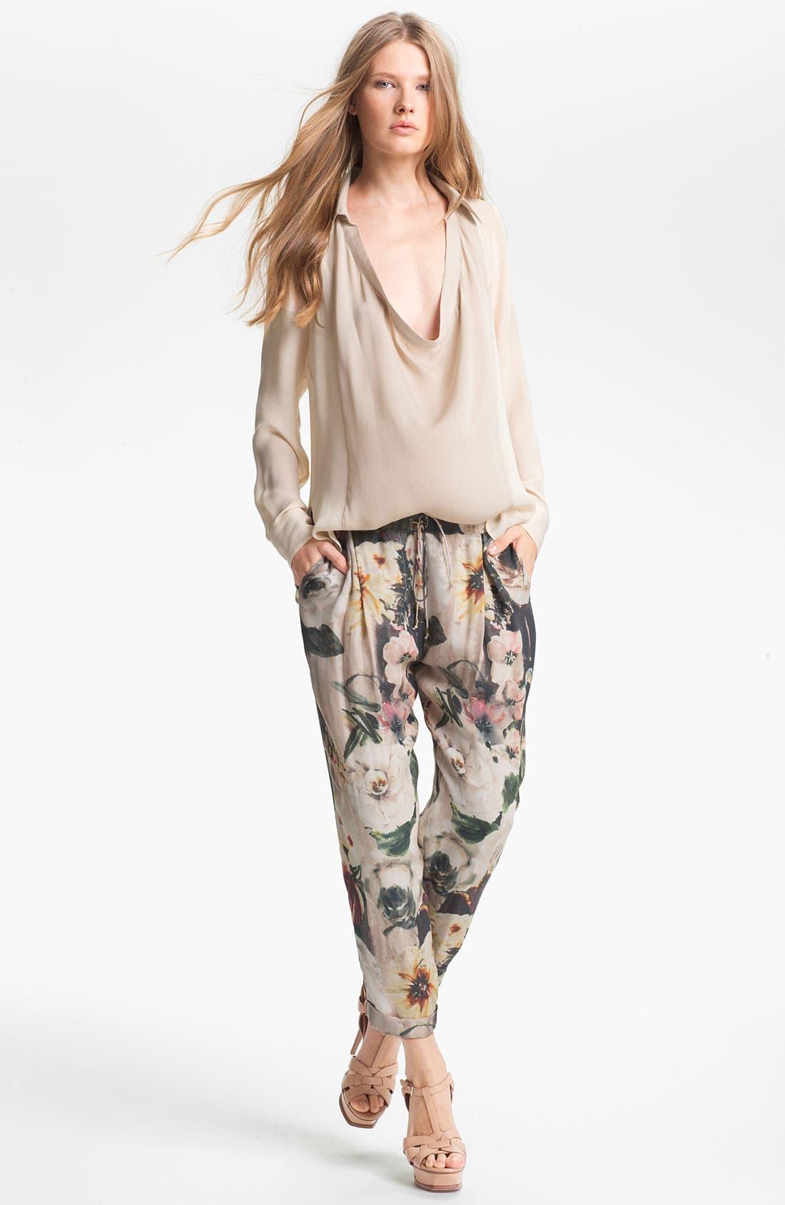 Alternate Image 2  - Haute Hippie Floral Print Drawstring Trousers