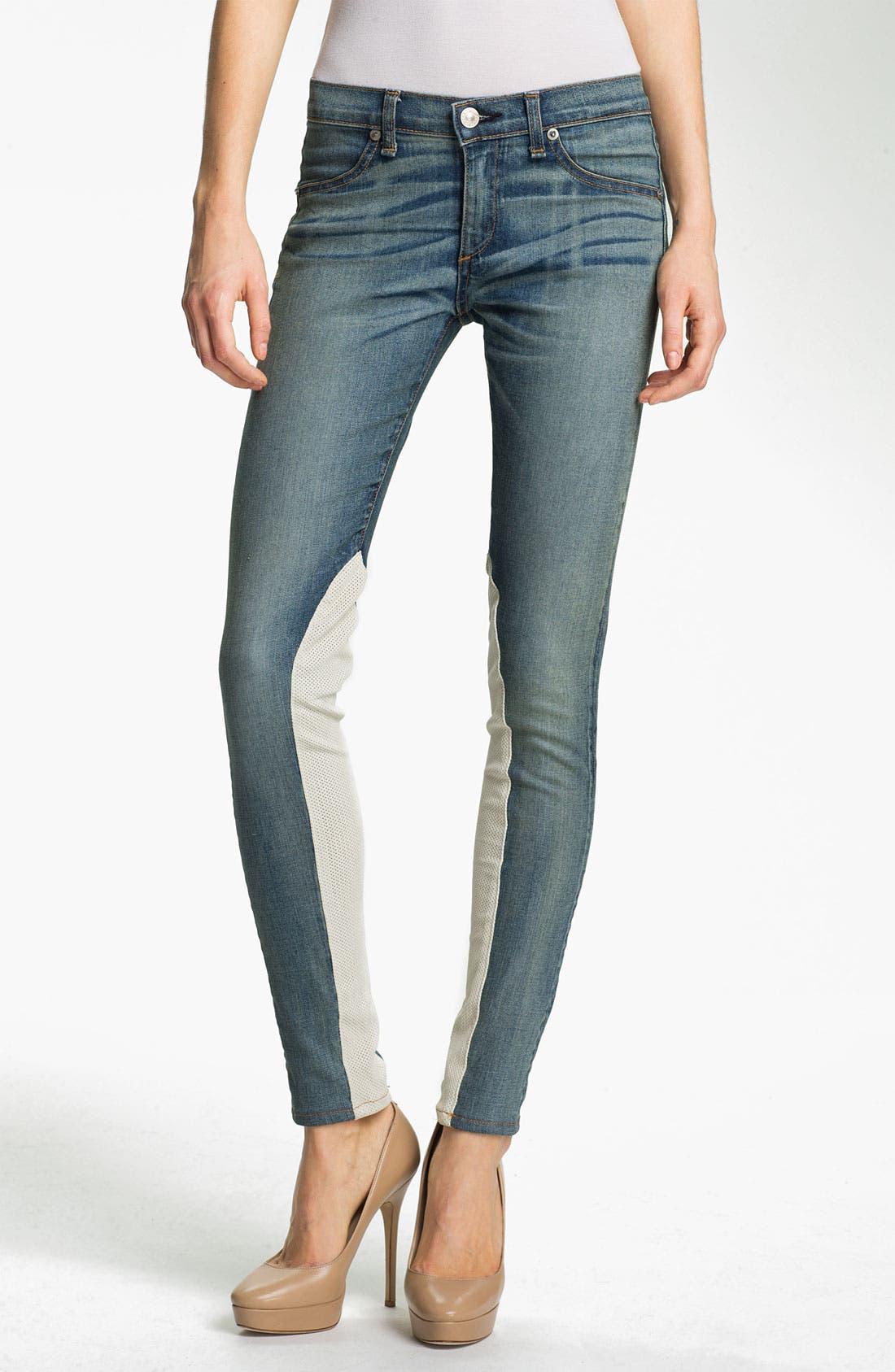 Main Image - rag & bone/JEAN Slim Leather & Denim Jeans