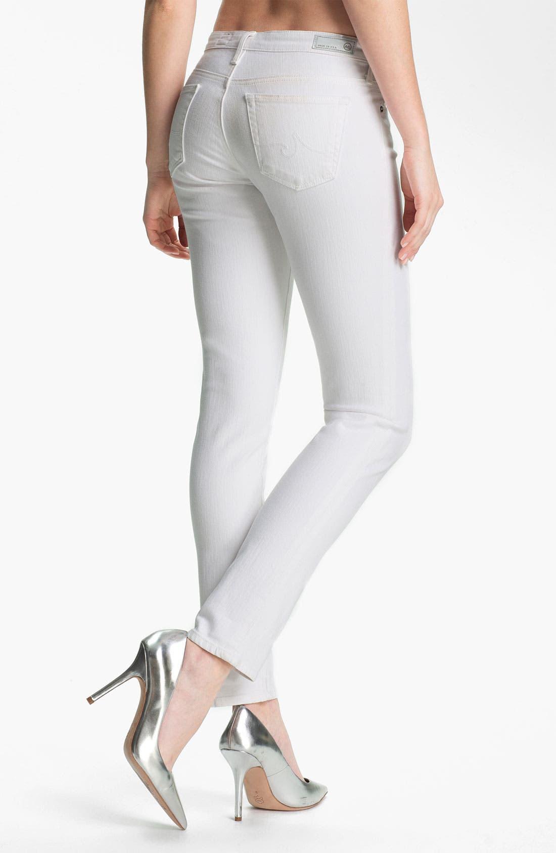 Alternate Image 2  - AG Jeans 'Stilt' Cigarette Leg Stretch Jeans (White)