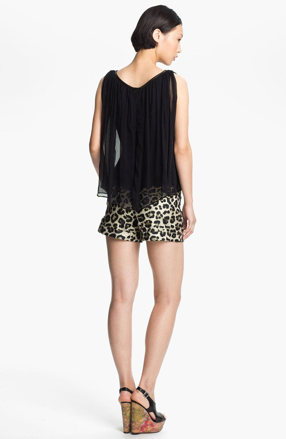 Alternate Image 2  - Alice + Olivia Gathered Neck Washed Silk Tank
