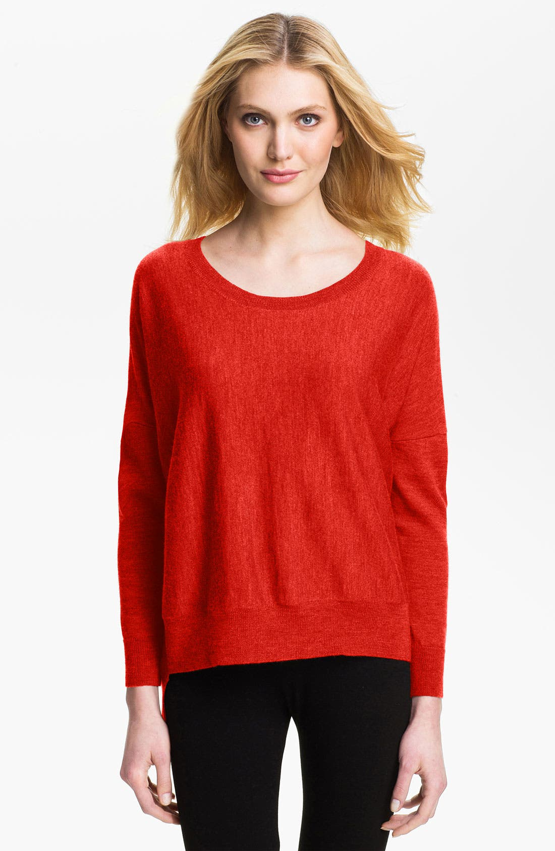 Main Image - Eileen Fisher Ballet Neck Merino Sweater (Petite)