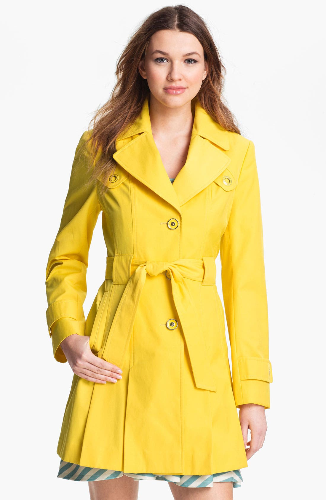 Main Image - Via Spiga Pleated Trench Coat (Regular & Petite)