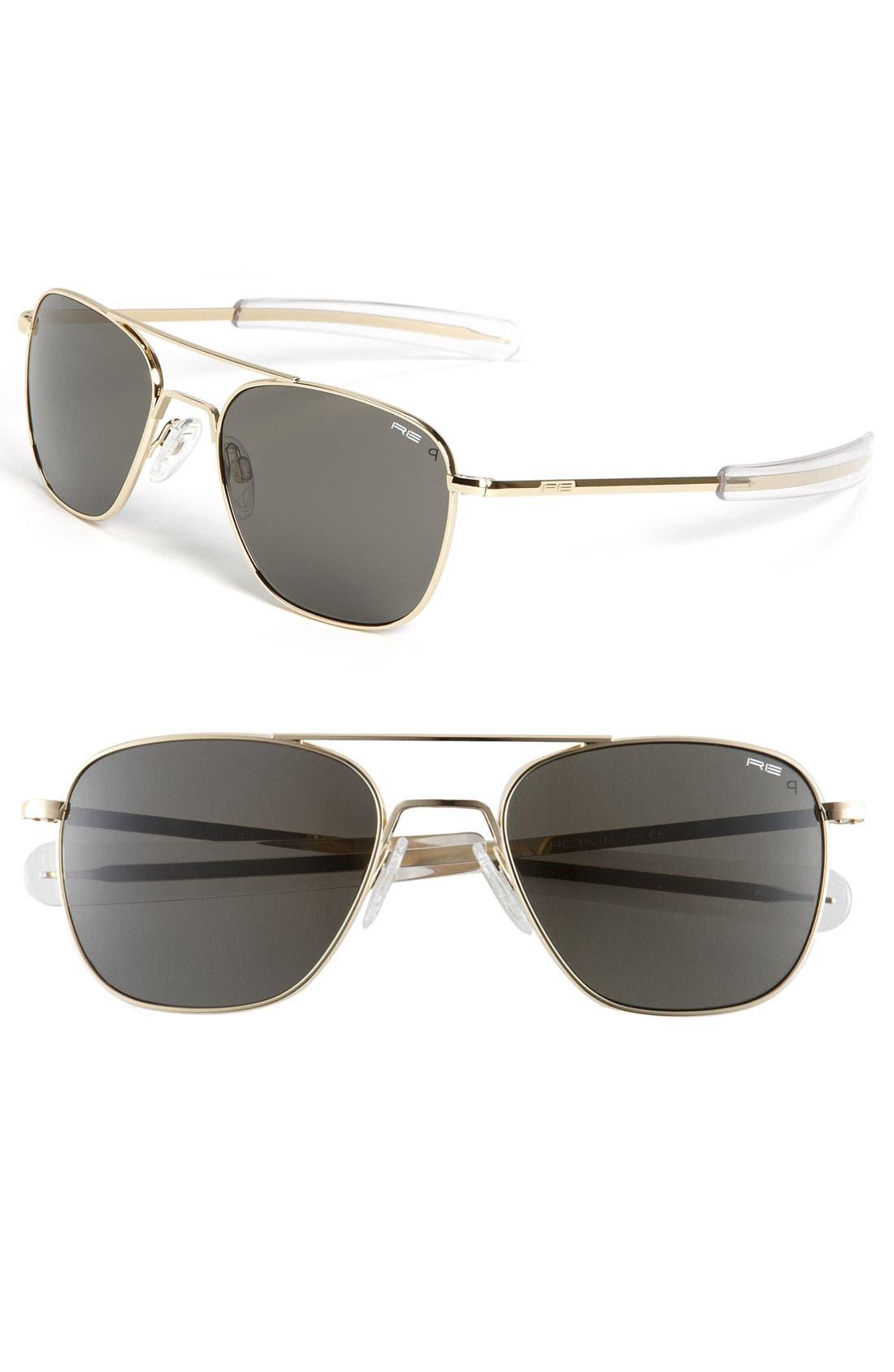 55mm Aviator Sunglasses,                         Main,                         color, Gold
