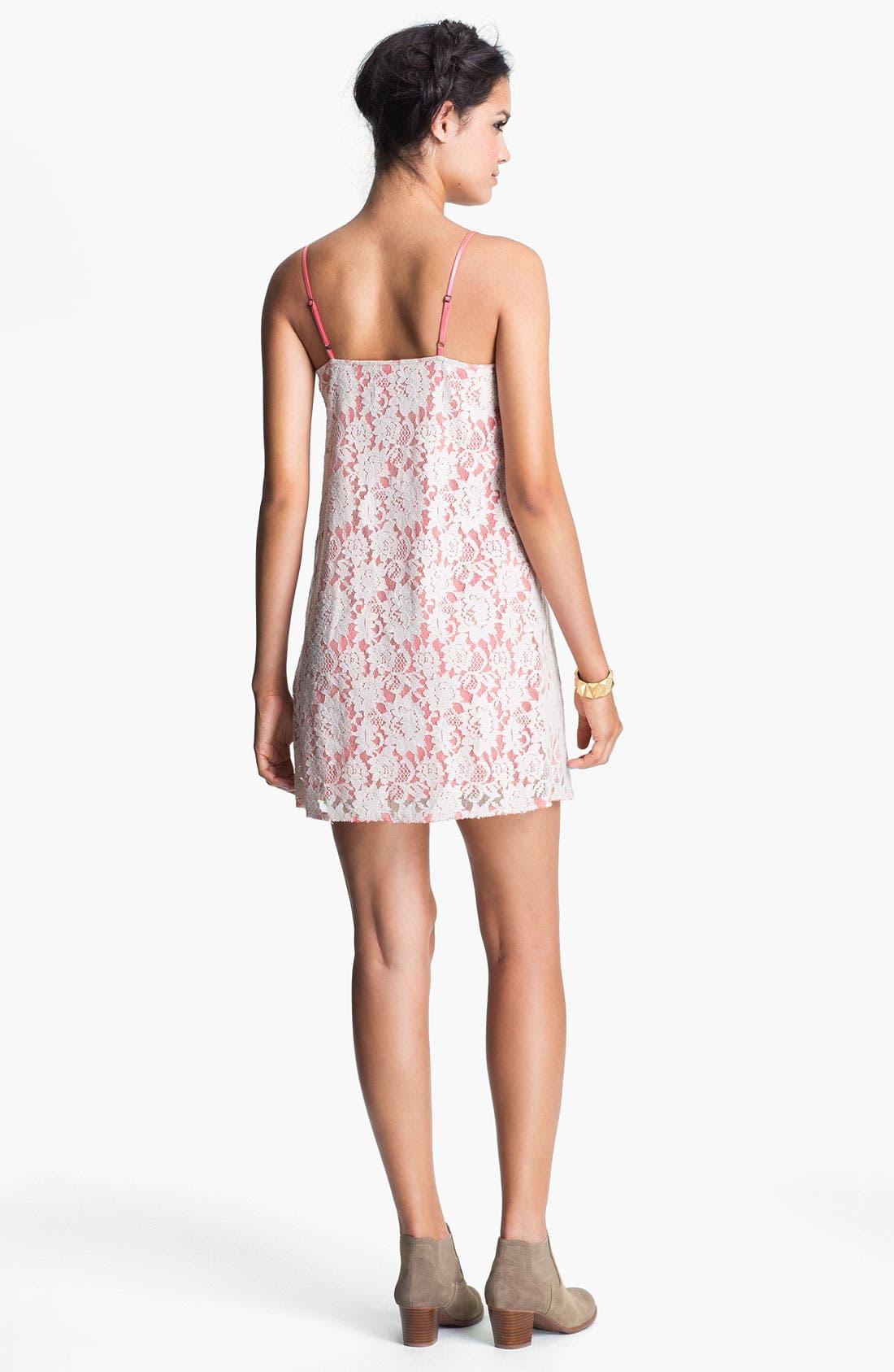 Alternate Image 2  - Frenchi® 'Fairytale' Lace Slip Dress (Juniors)