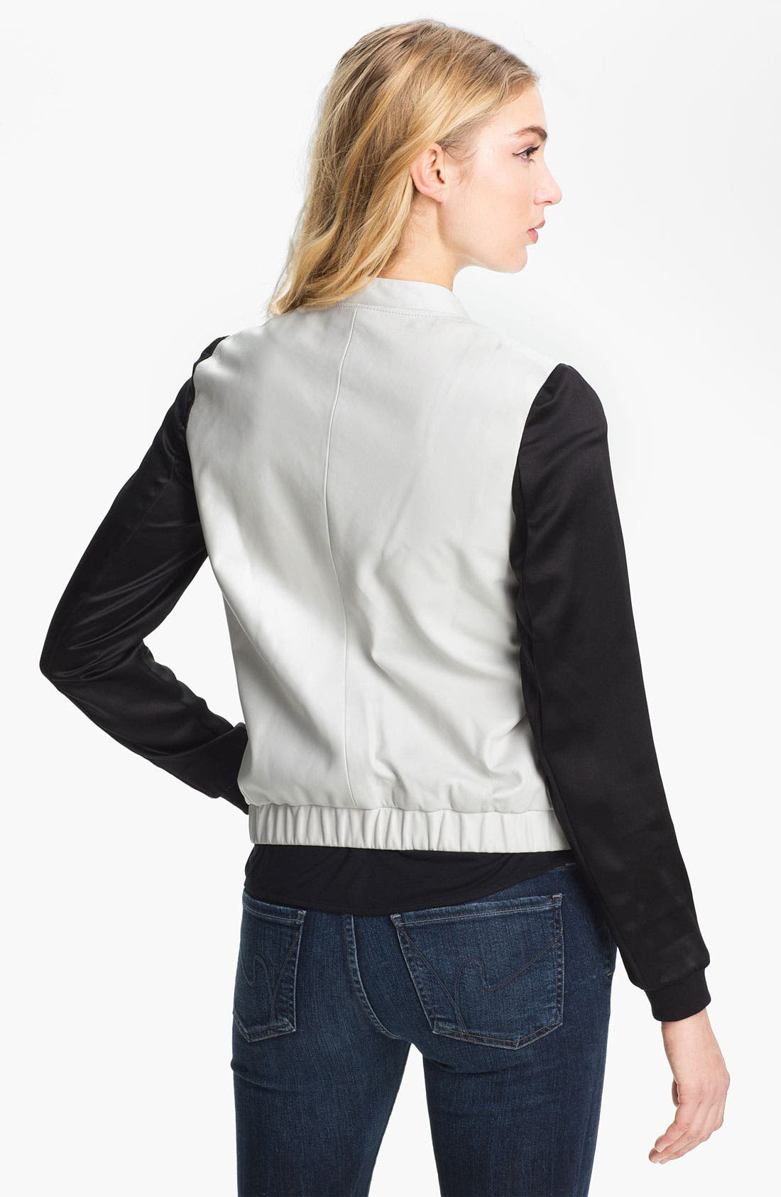 Alternate Image 2  - Trouvé Two Tone Leather Baseball Jacket