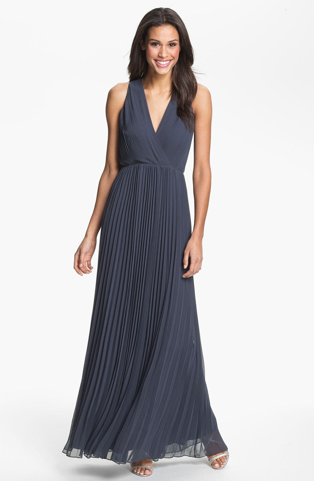 Alternate Image 1 Selected - Halston Heritage Pleated Chiffon Gown