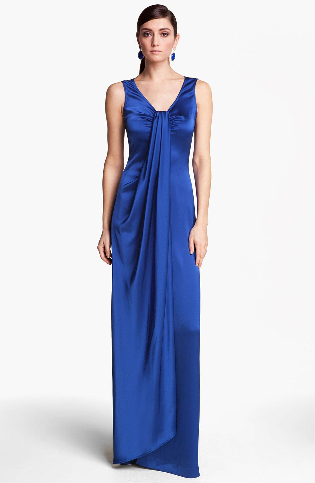 Alternate Image 1 Selected - St. John Collection Draped Liquid Satin Gown