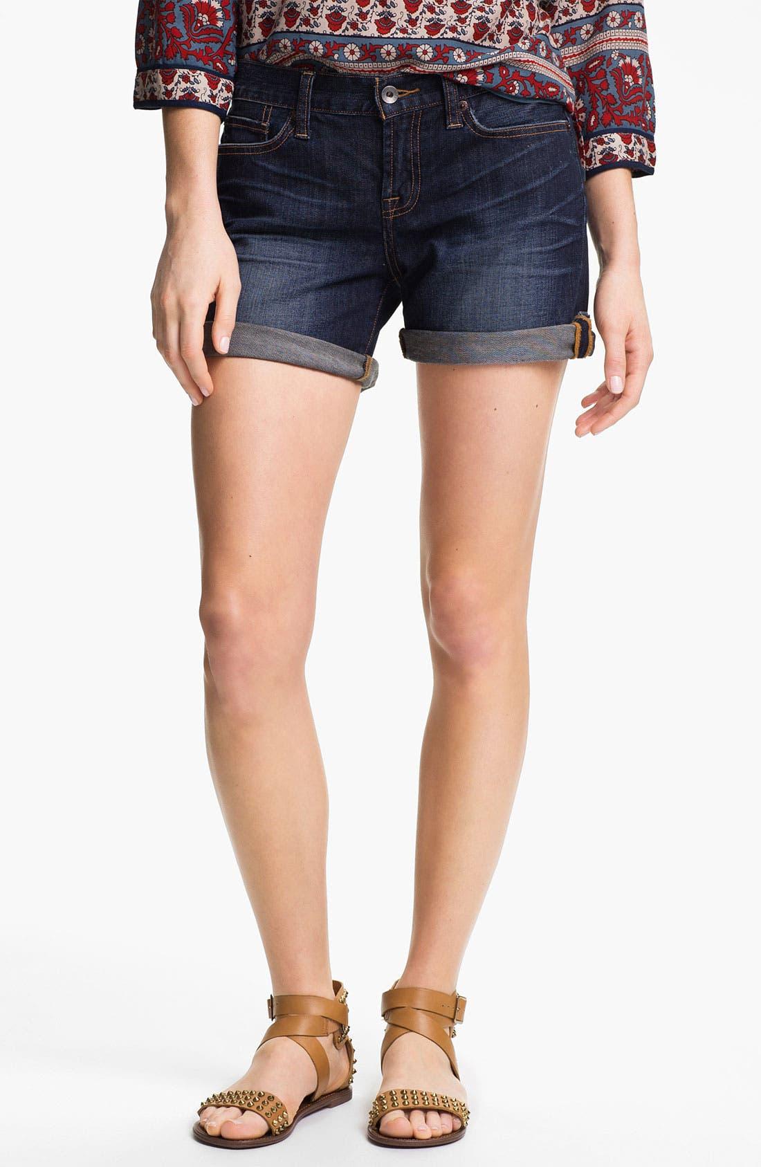 Main Image - Lucky Brand 'Abbey' Double Roll Denim Shorts (Dark Helms)