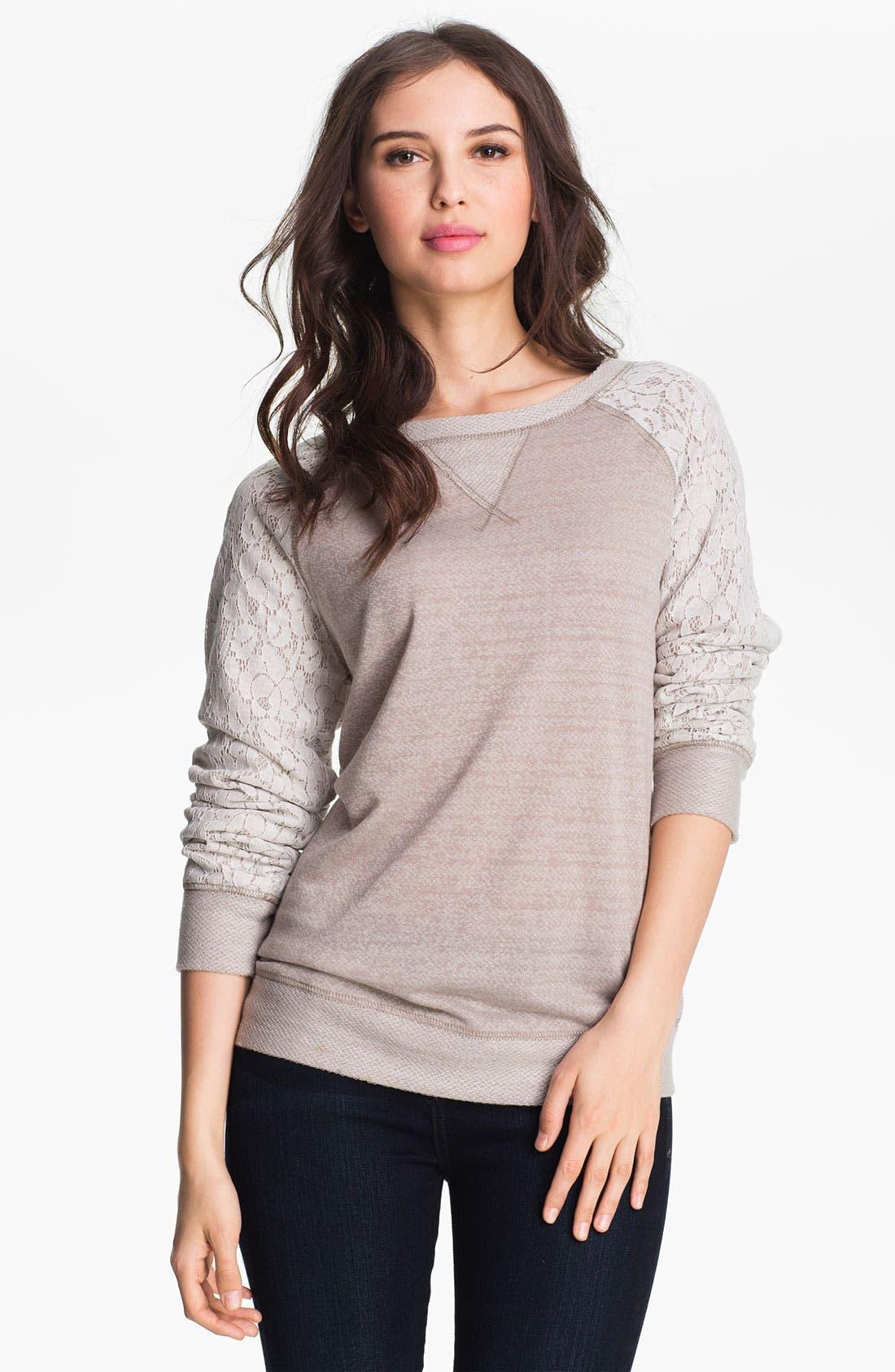 Alternate Image 1 Selected - Olivia Moon Lace Sleeve Sweatshirt