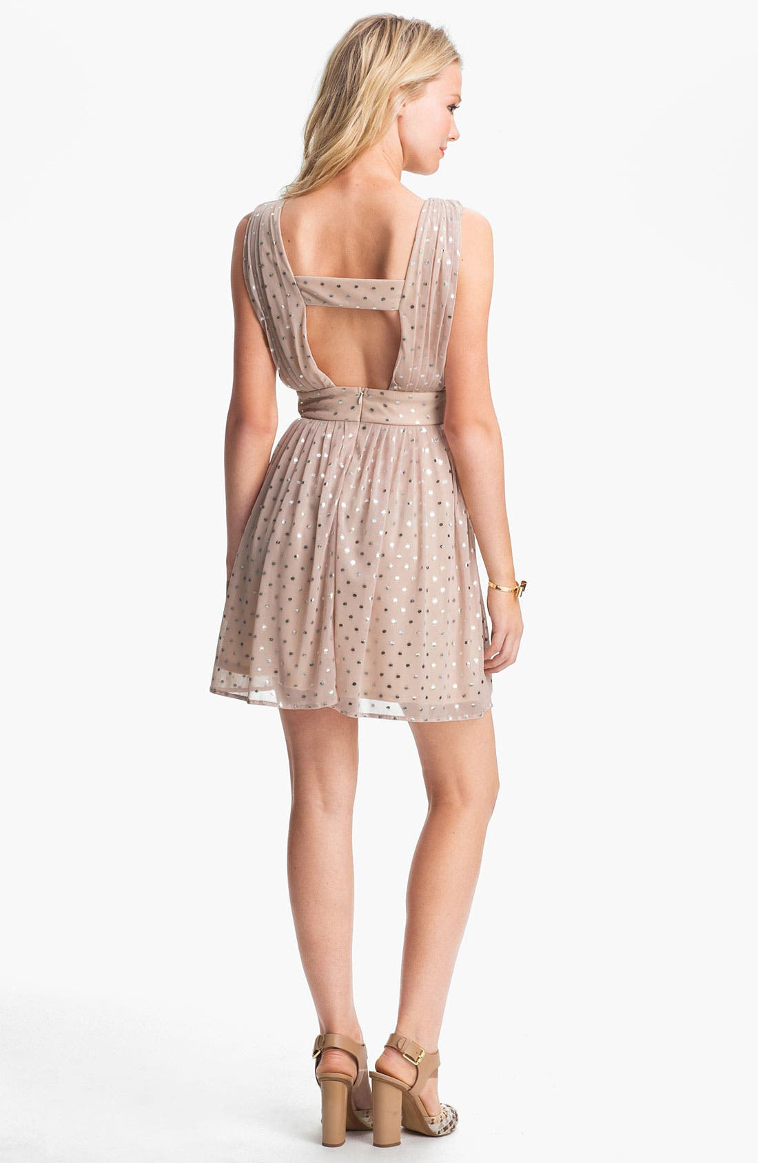 Alternate Image 2  - As U Wish Foil Dot Party Dress (Juniors)