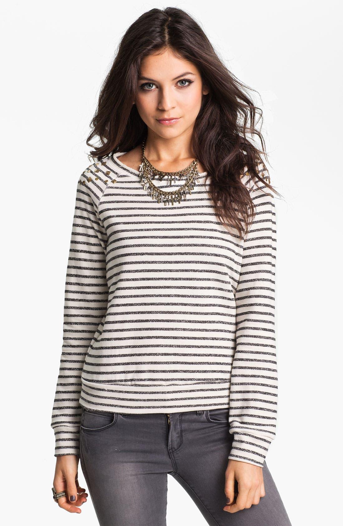 Main Image - Ten Sixty Sherman Stud Nautical Stripe Sweatshirt (Juniors)