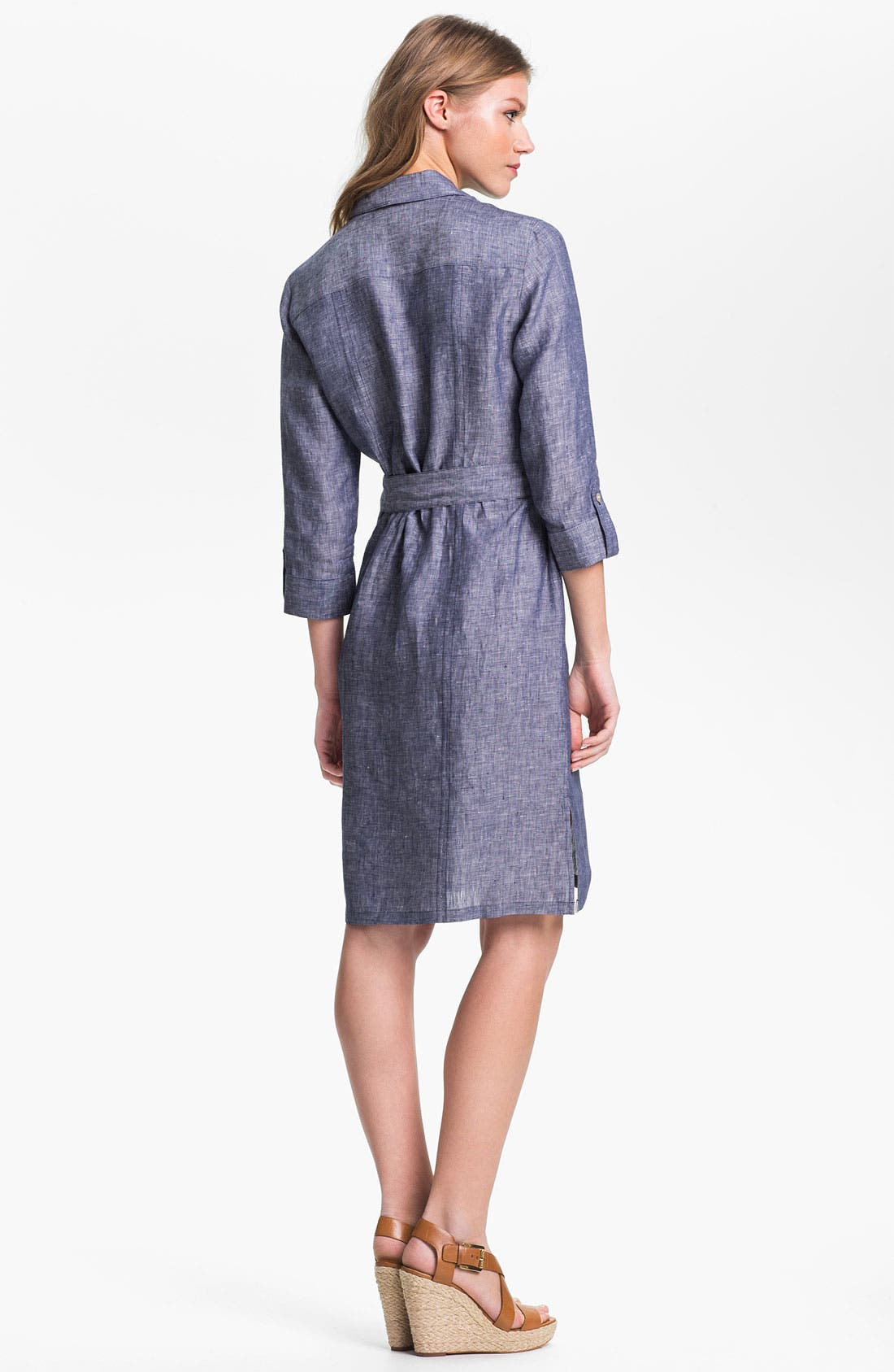 Alternate Image 2  - Foxcroft Chambray Linen Shirtdress
