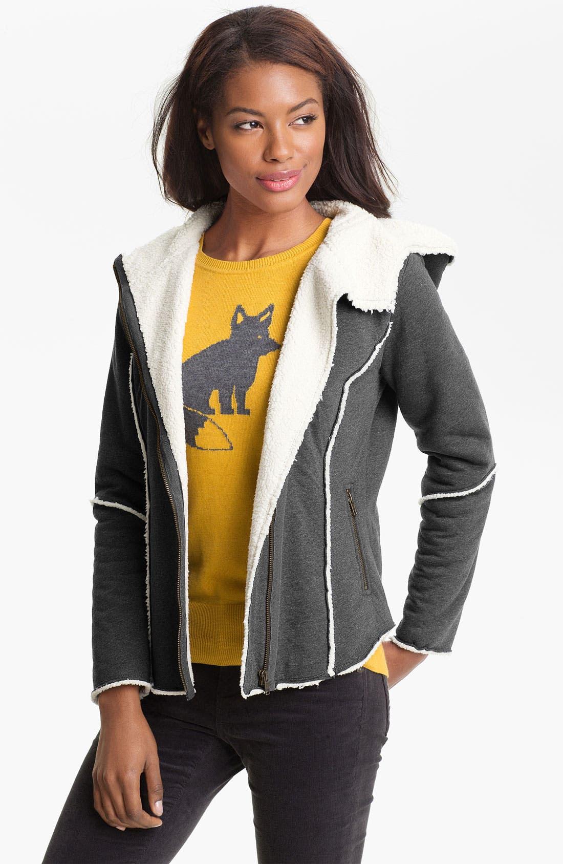Main Image - Caslon® Faux Fur Lined Hoodie (Petite)