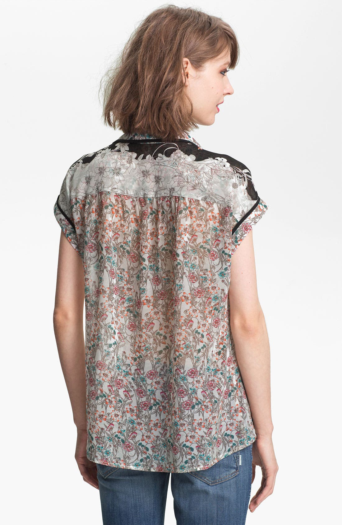 Alternate Image 2  - Ace Delivery Floral Print Collar Top