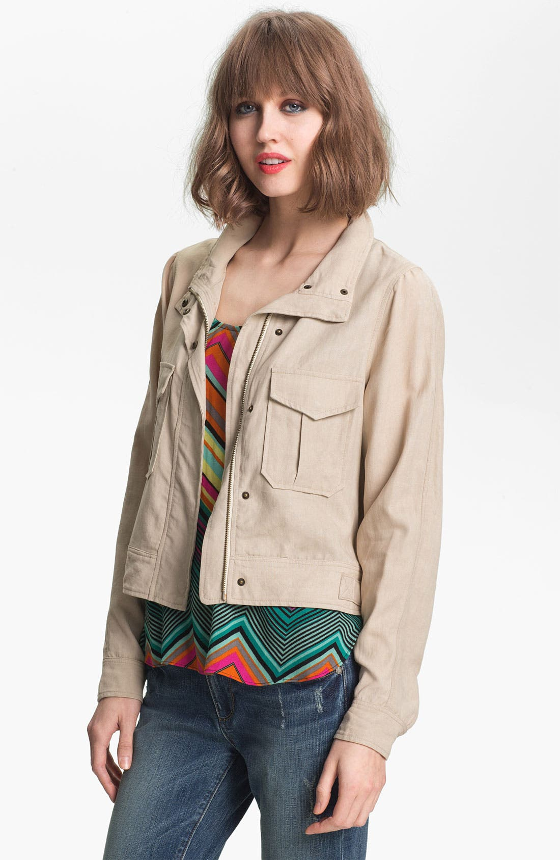 Alternate Image 1 Selected - Ella Moss Crop Utility Jacket