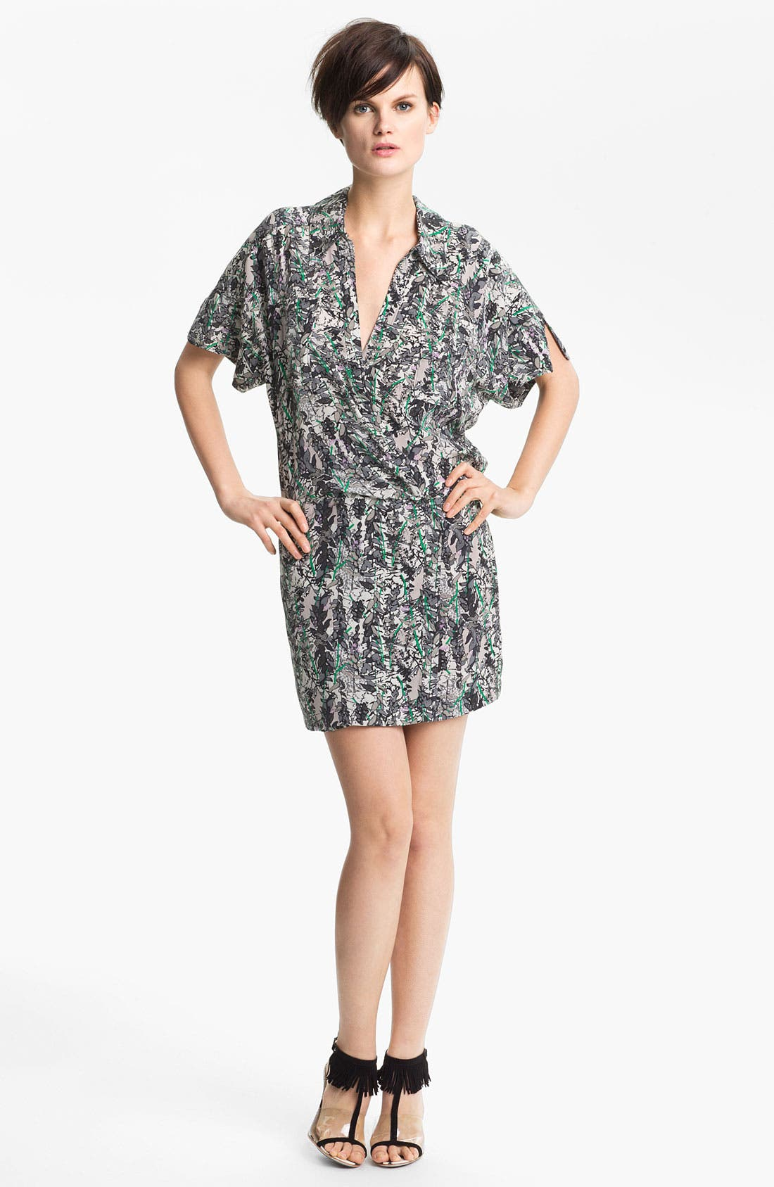 Main Image - Tracy Reese Leaf Print Silk Shirtdress