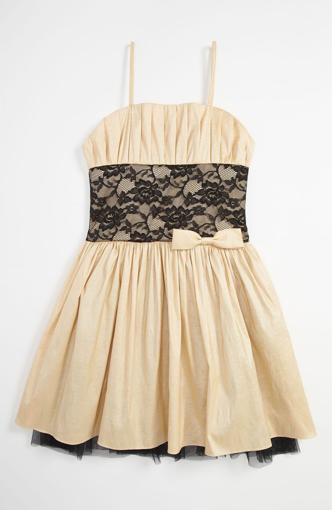 Alternate Image 1 Selected - Jessica McClintock Taffeta Dress (Big Girls)