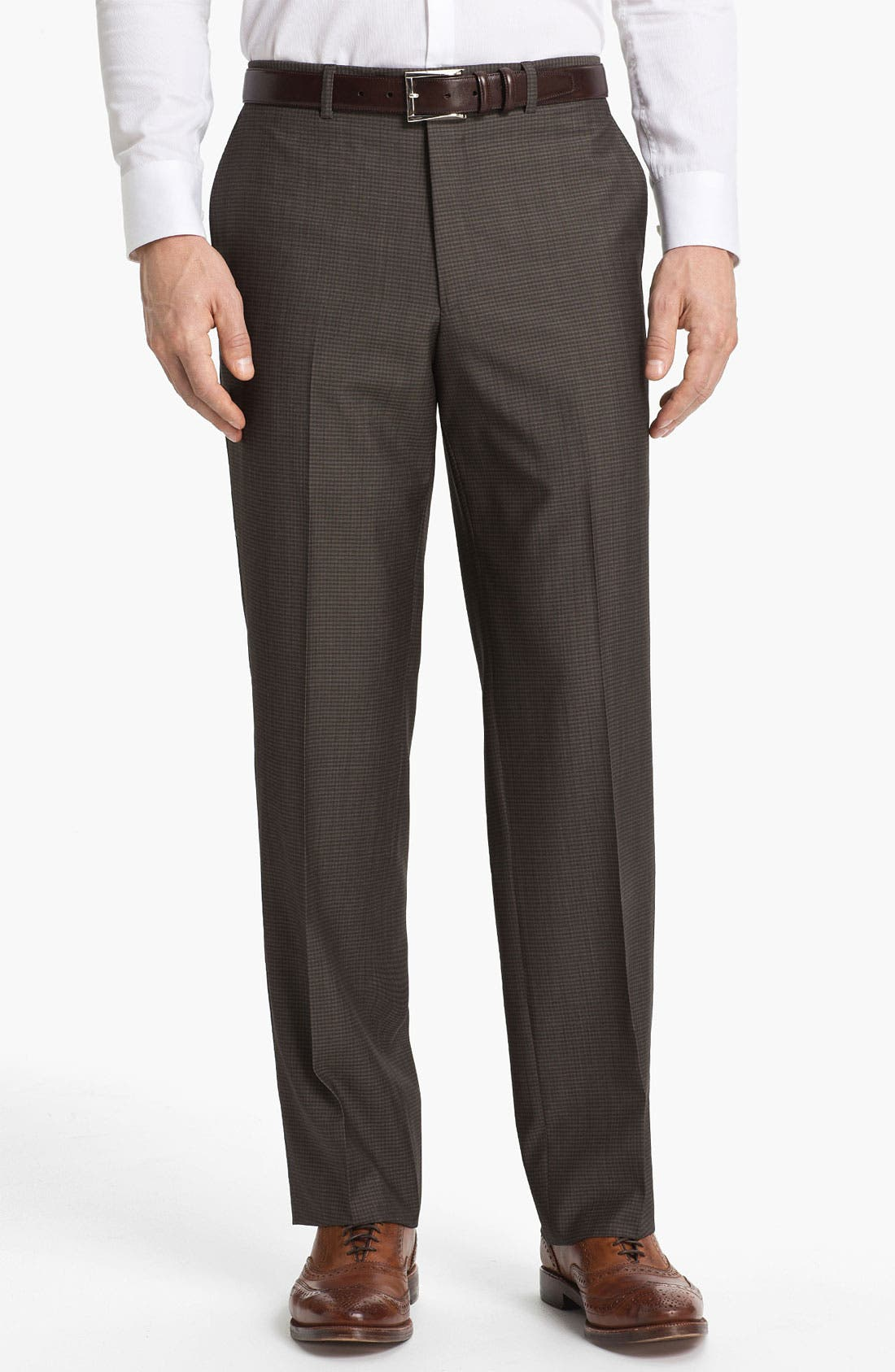 Main Image - Linea Naturale Flat Front Wool Trousers